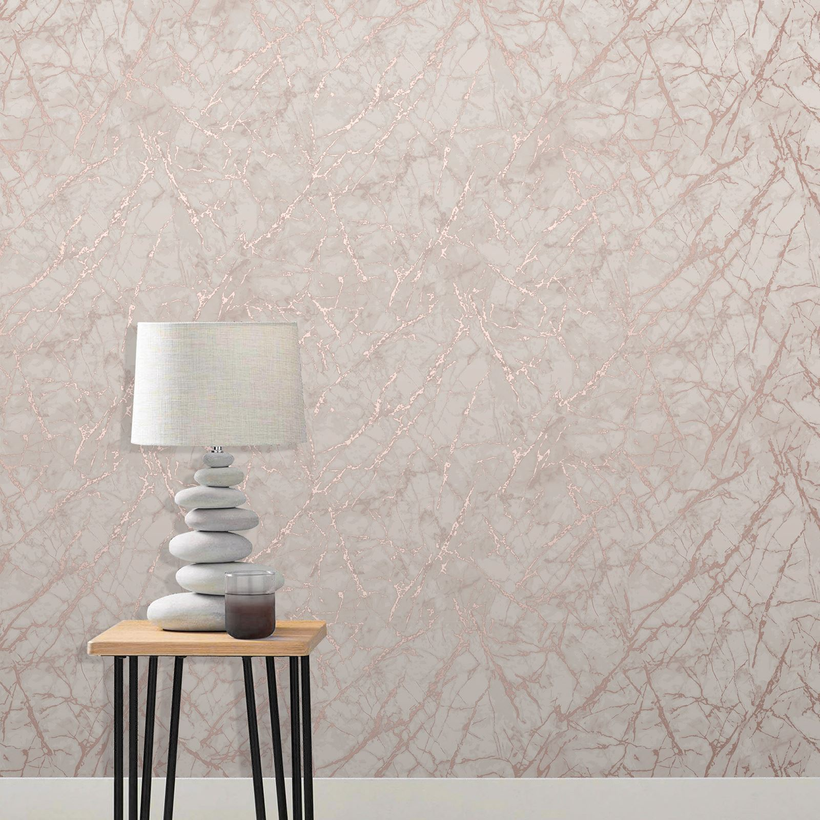 Rotgold-Tapete-Grau-Creme-Exotisch-Blumen-Tropisch-Palme-Blaetter-Geometrisch Indexbild 43