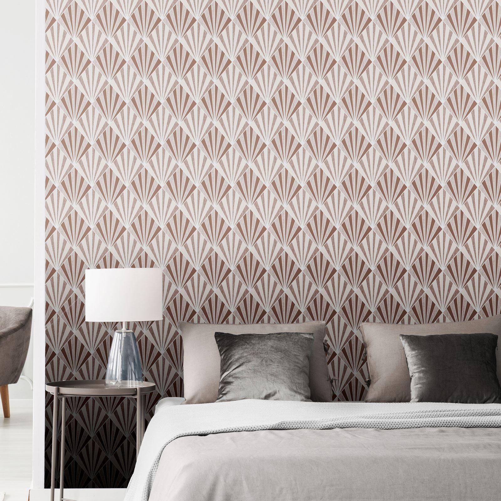 Rotgold-Tapete-Grau-Creme-Exotisch-Blumen-Tropisch-Palme-Blaetter-Geometrisch Indexbild 3