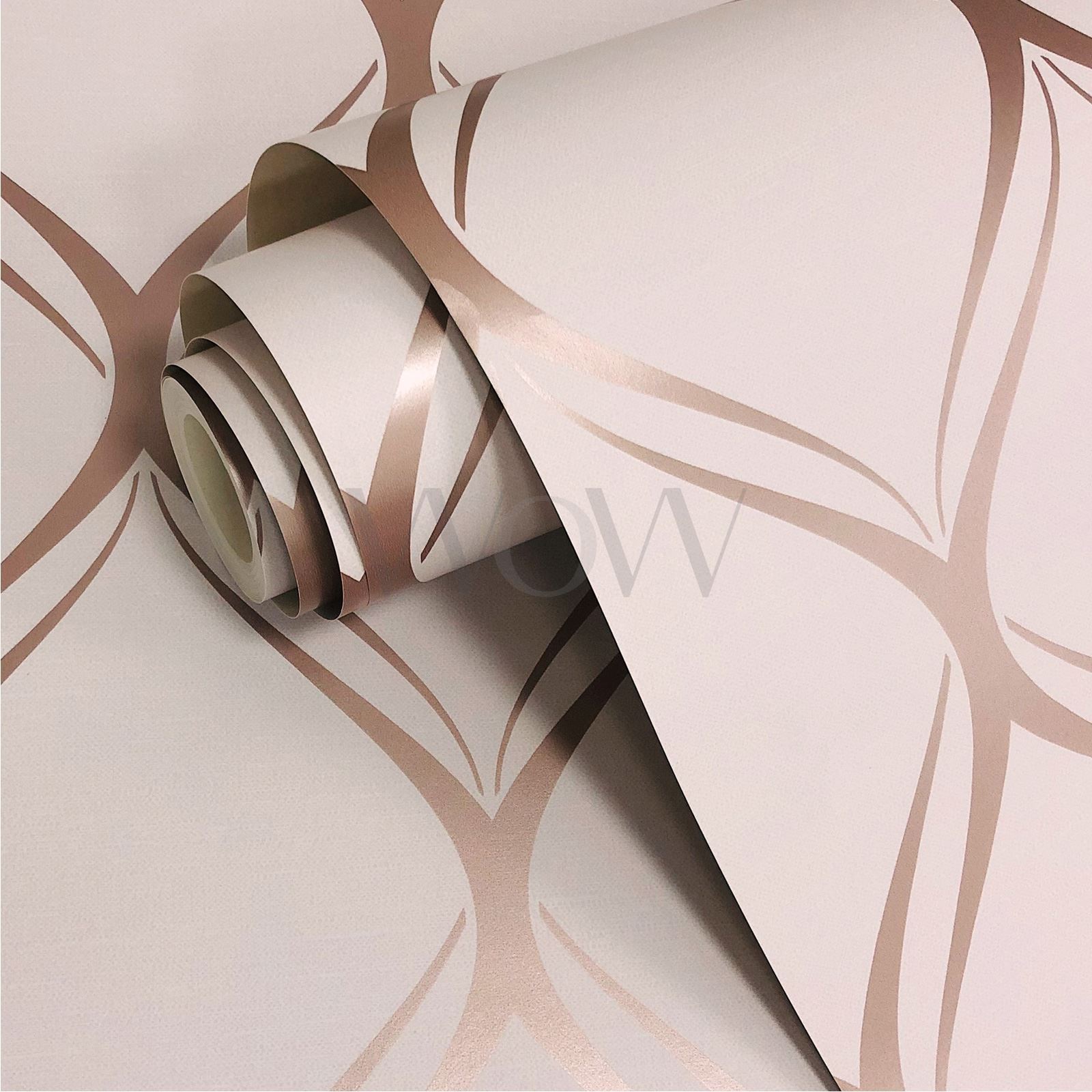 Rotgold-Tapete-Grau-Creme-Exotisch-Blumen-Tropisch-Palme-Blaetter-Geometrisch Indexbild 15