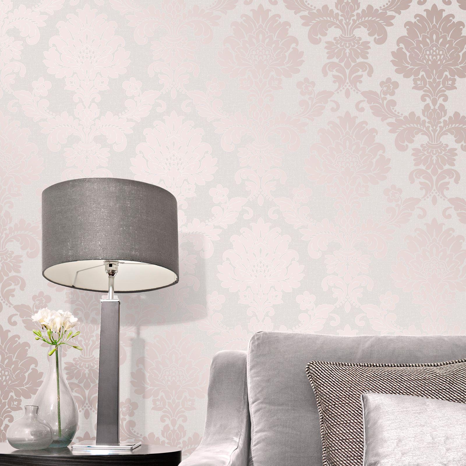 Rotgold-Tapete-Grau-Creme-Exotisch-Blumen-Tropisch-Palme-Blaetter-Geometrisch Indexbild 52