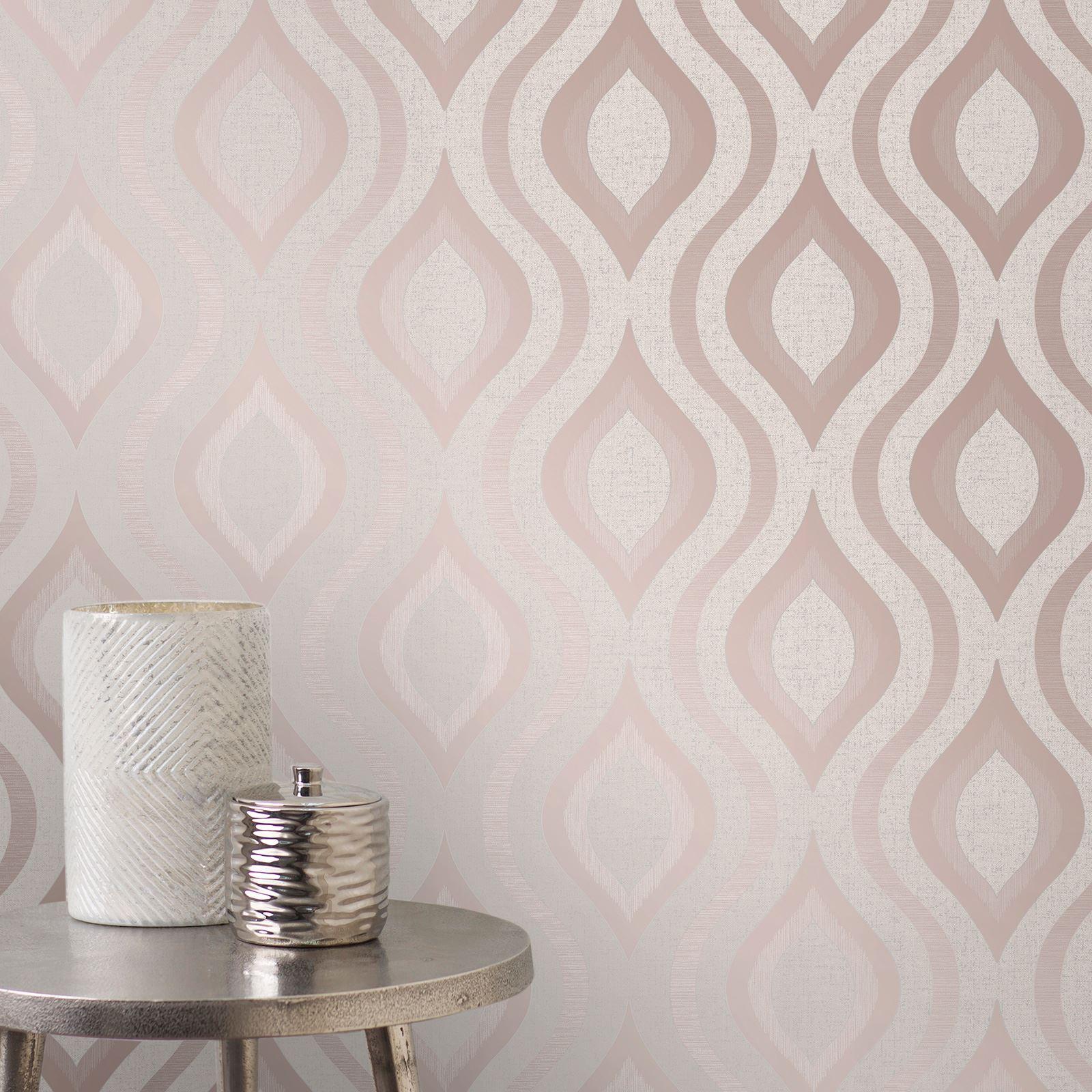 Rotgold-Tapete-Grau-Creme-Exotisch-Blumen-Tropisch-Palme-Blaetter-Geometrisch Indexbild 54