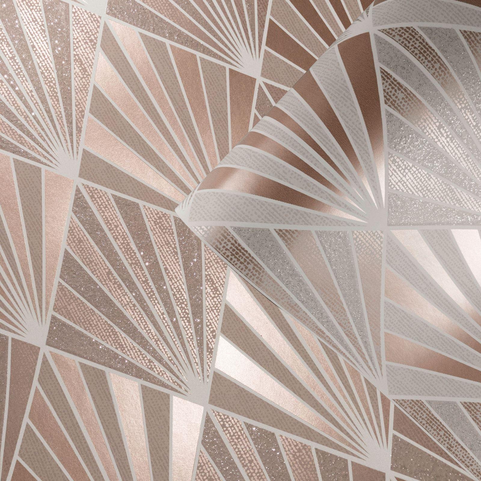 Rotgold-Tapete-Grau-Creme-Exotisch-Blumen-Tropisch-Palme-Blaetter-Geometrisch Indexbild 4