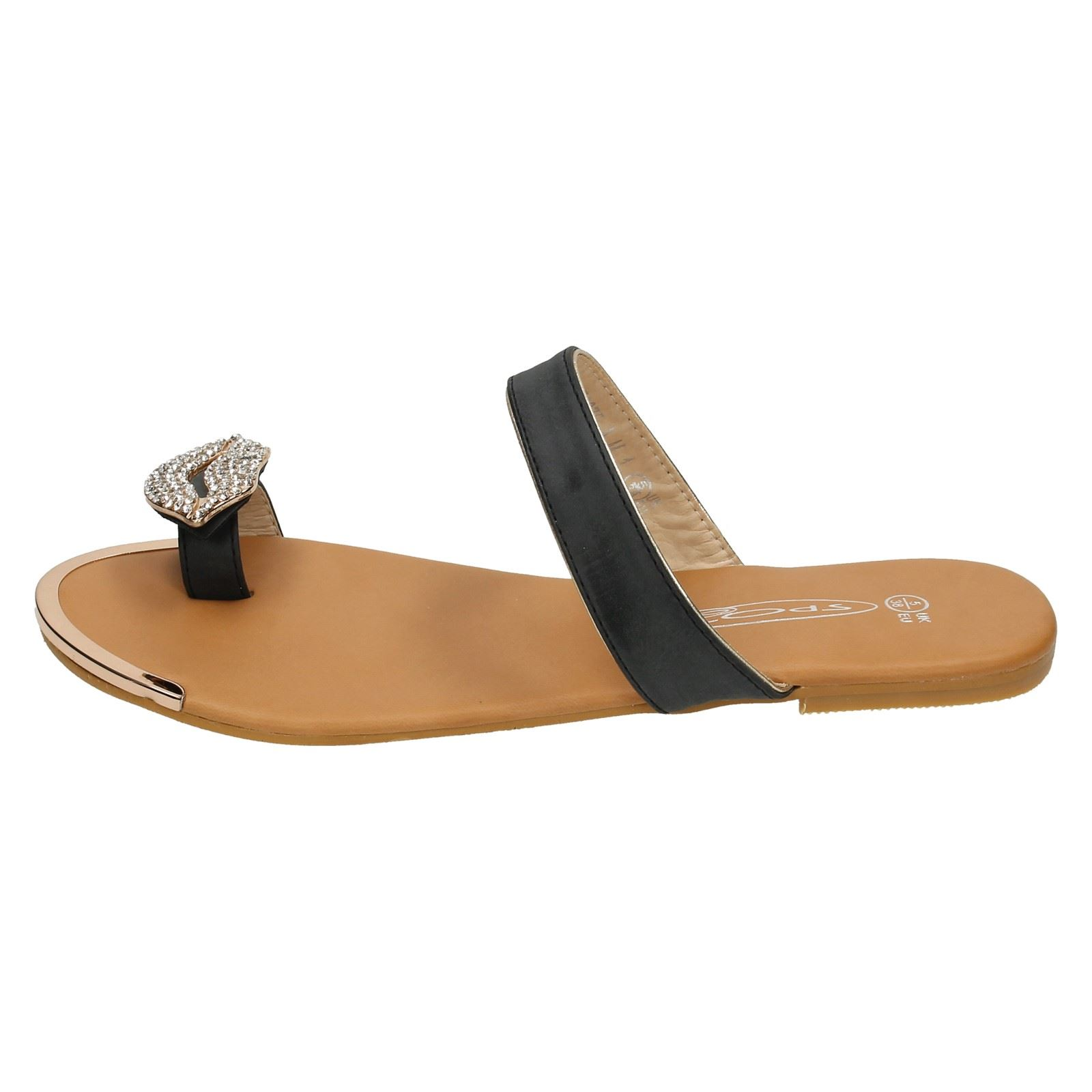 Spot On Flat Sole Ladies Toeloop Sandal