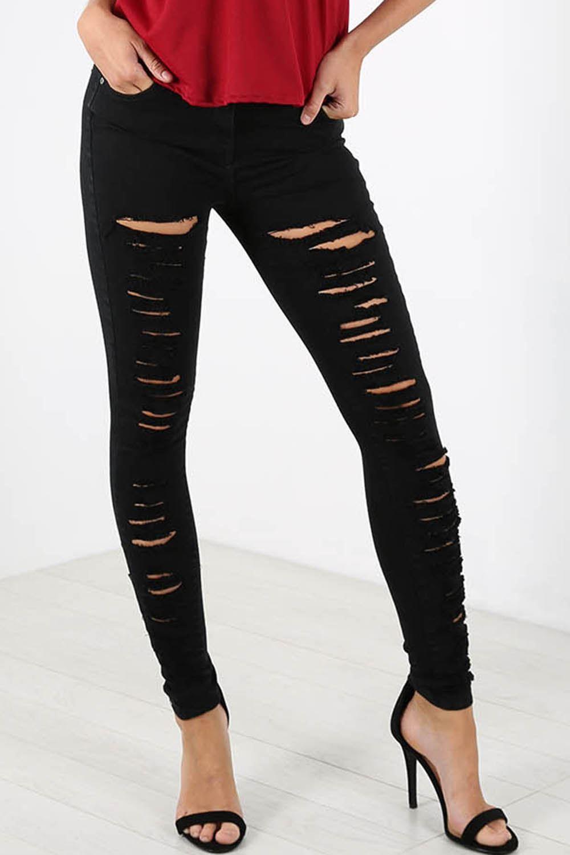 Ripped black jeans ladies
