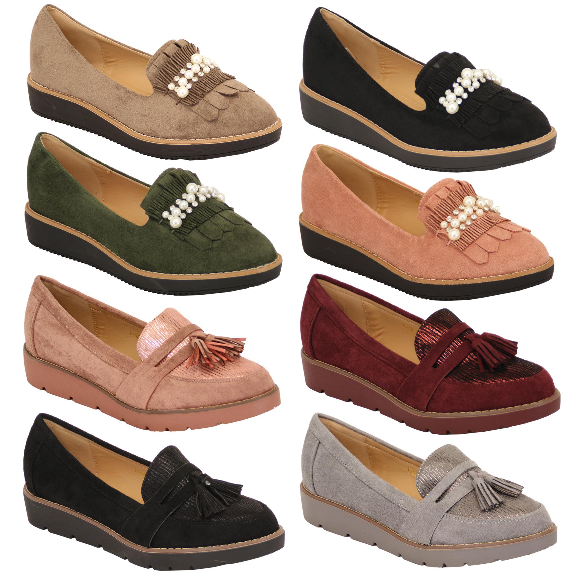 Ladies Suede Look Loafers Vintage Shoes