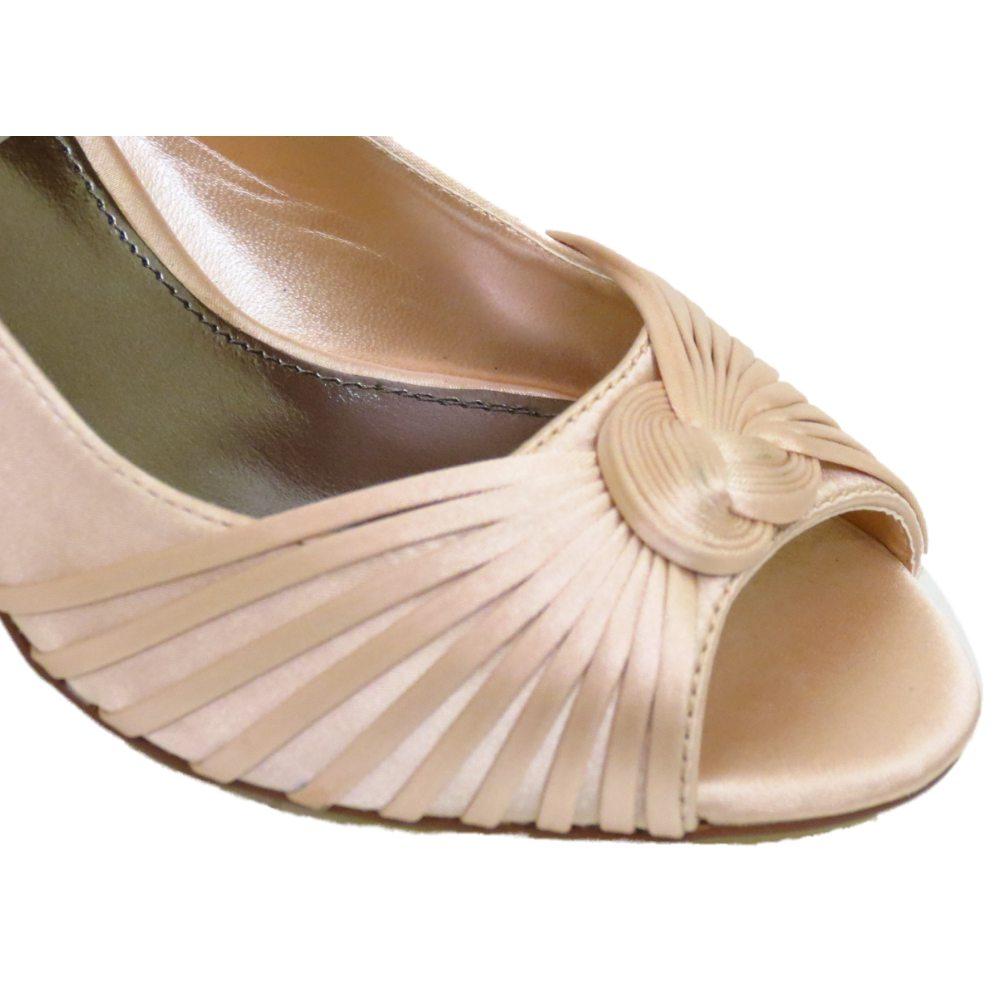 Mujer Pálido Dorado Satén Boda Novia Dama De Honor Zapatos salón Número 4-7