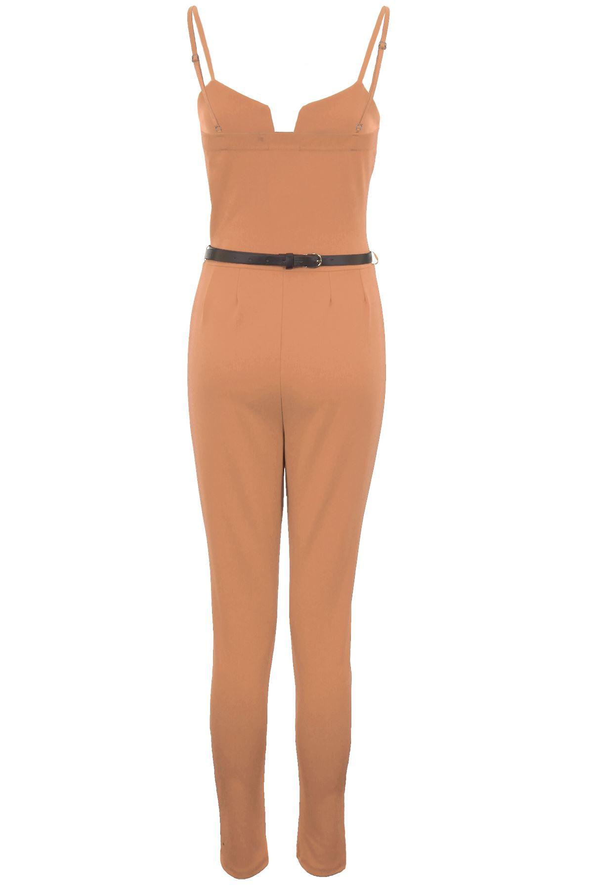 Mujer-Con-Tiras-Sin-Mangas-Cuadrado-cuello-en-039-V-039-Crepe-Dorado-Con-Cinturon-liso