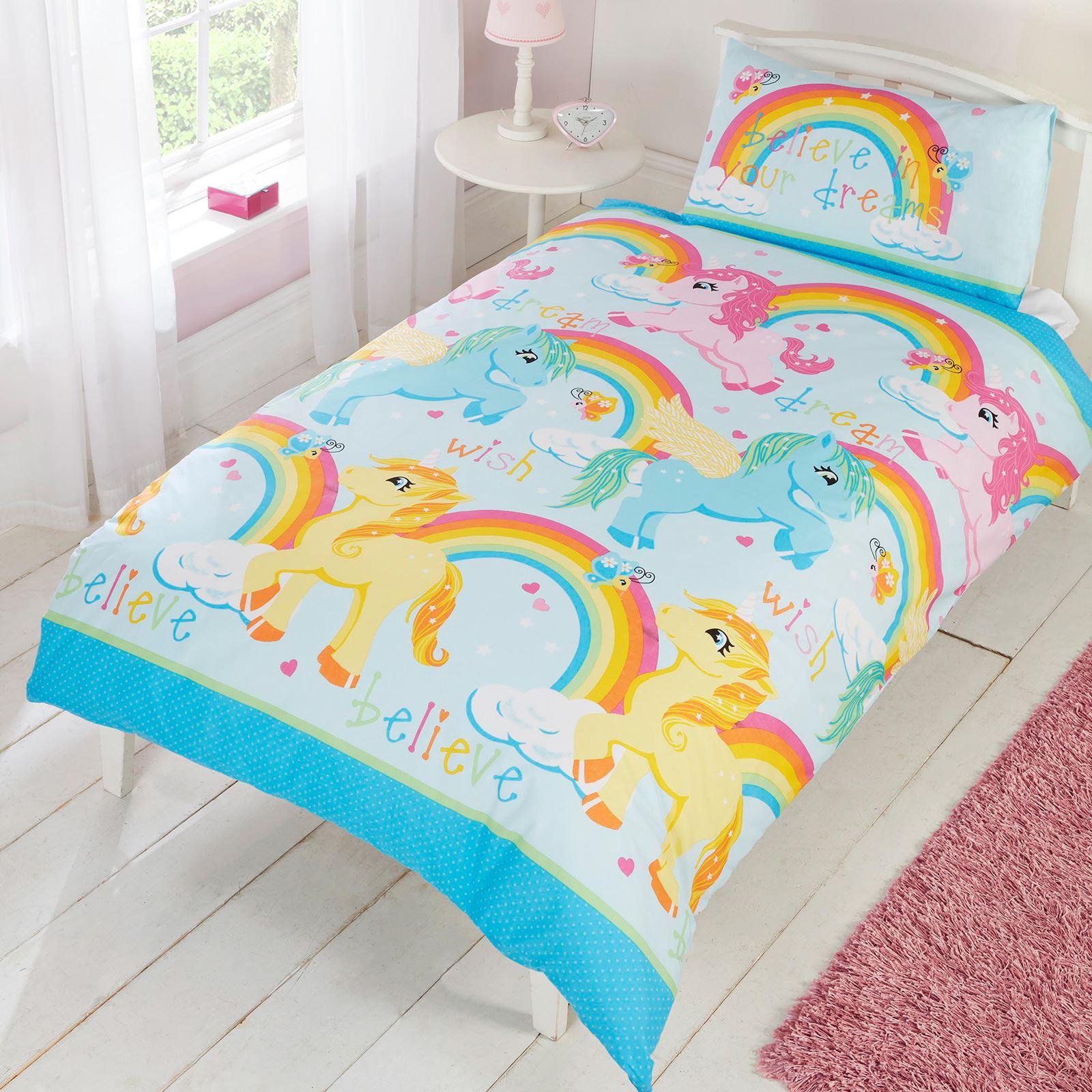 Ragazze copripiumino per letto singolo set biancheria da letto unicorno fiore ebay - Biancheria da letto amazon ...