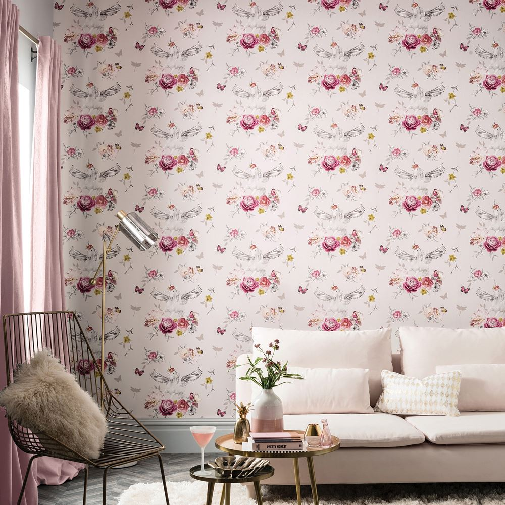 einh rner pferde tapete kinder m dchen schlafzimmer lila rosa wei glitter ebay. Black Bedroom Furniture Sets. Home Design Ideas