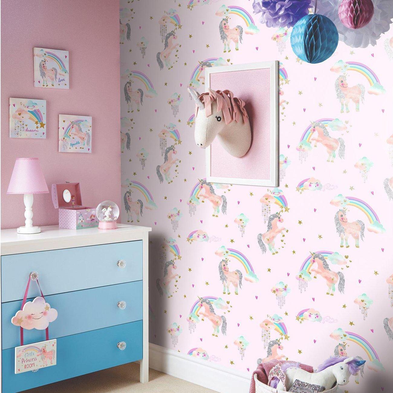 Einhörner Pferde Tapete Kinder Mädchen Schlafzimmer - Lila Rosa Weiß ...