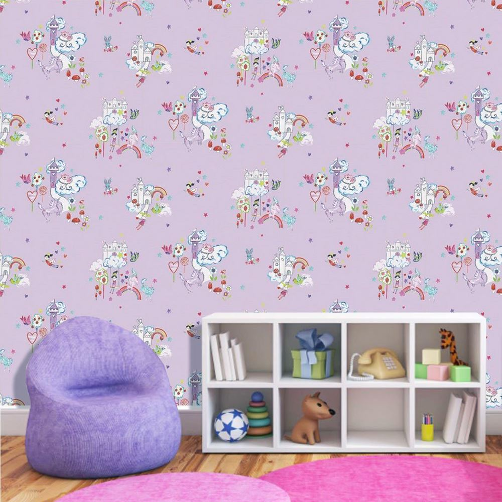einh rner pferde tapete kinder m dchen schlafzimmer lila rosa wei glitter ebay. Black Bedroom Furniture Sets. Home Design Ideas