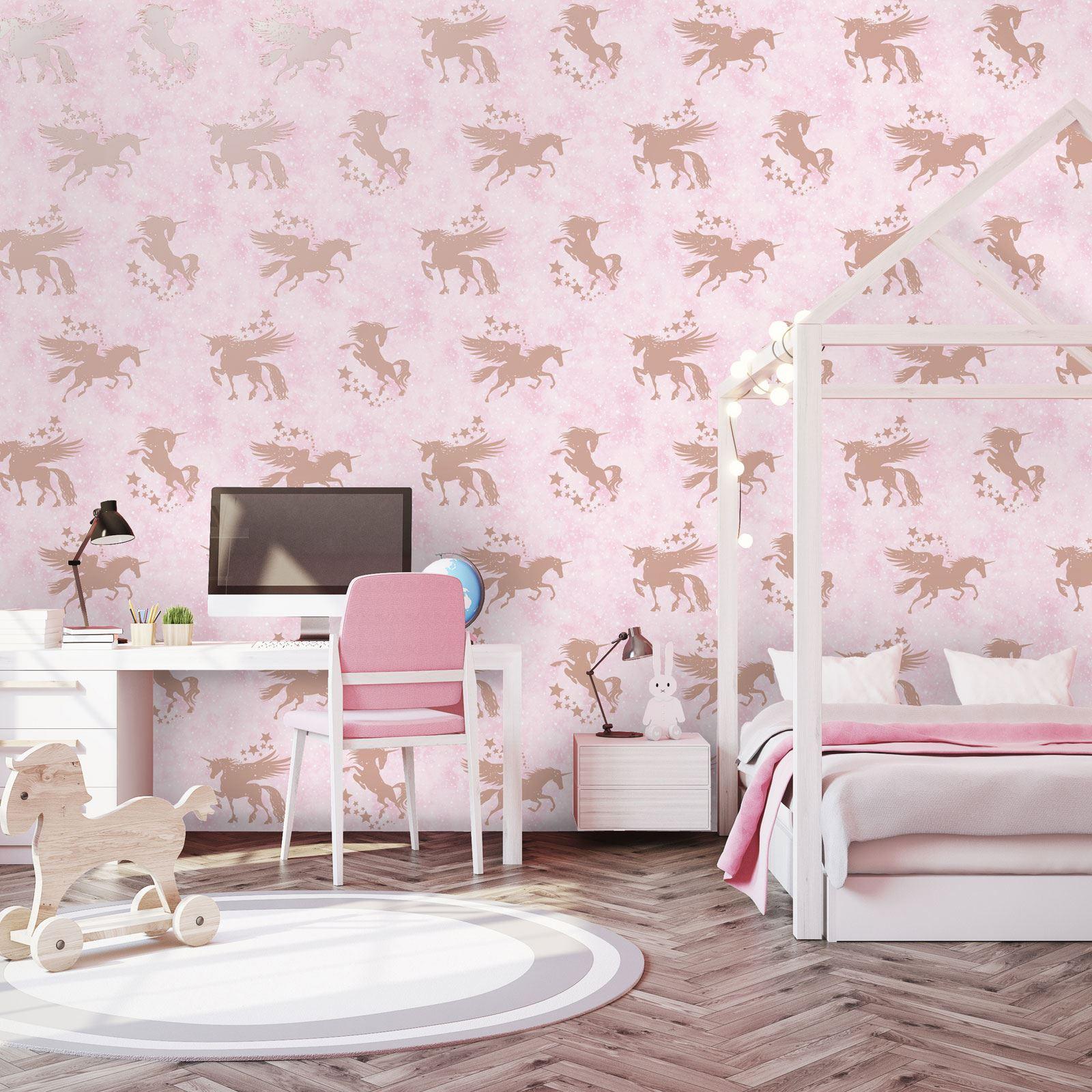 Details zu Einhörner Pferde Tapete Kinder Mädchen Schlafzimmer - Lila Rosa  Weiß Glitter