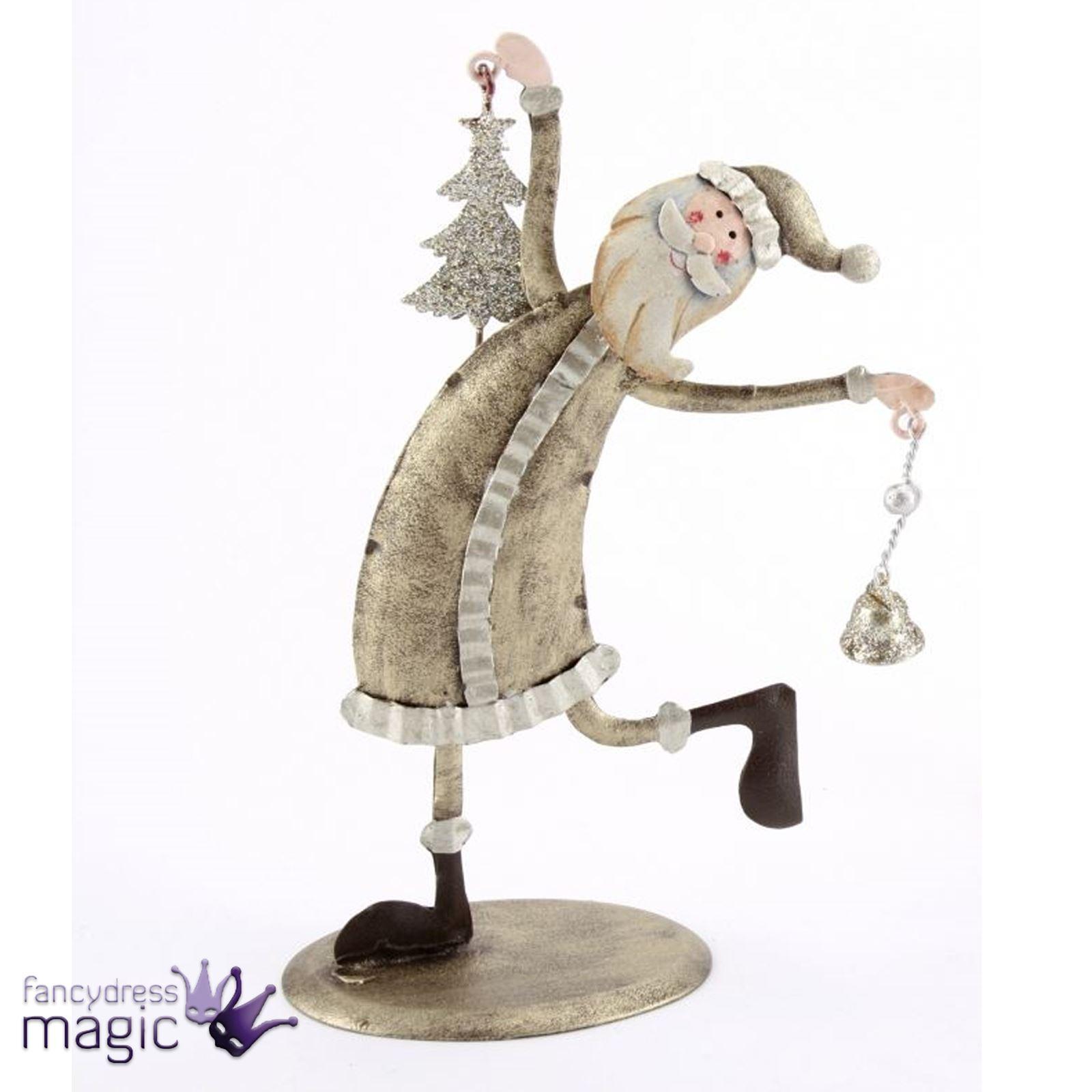FANTAISIE-VINTAGE-Noel-Wobbler-Ornement-Figurine-paillete-dore-decoration-15cm