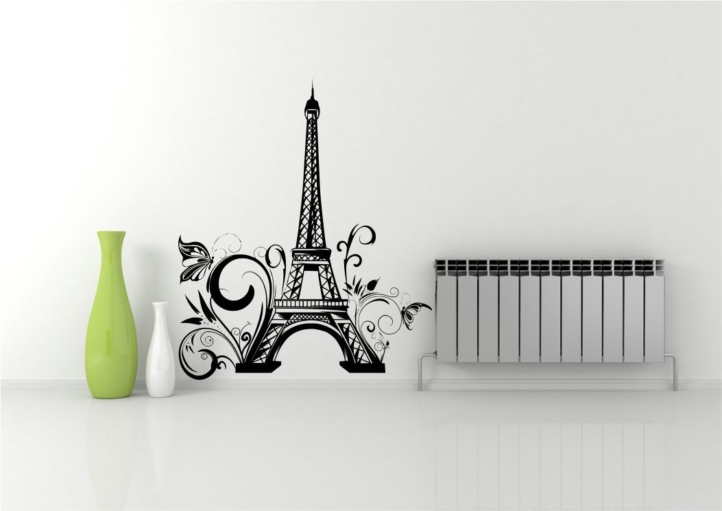 Paris Decals Wall Art eiffel tower flowers paris wall art sticker decal mural stencil