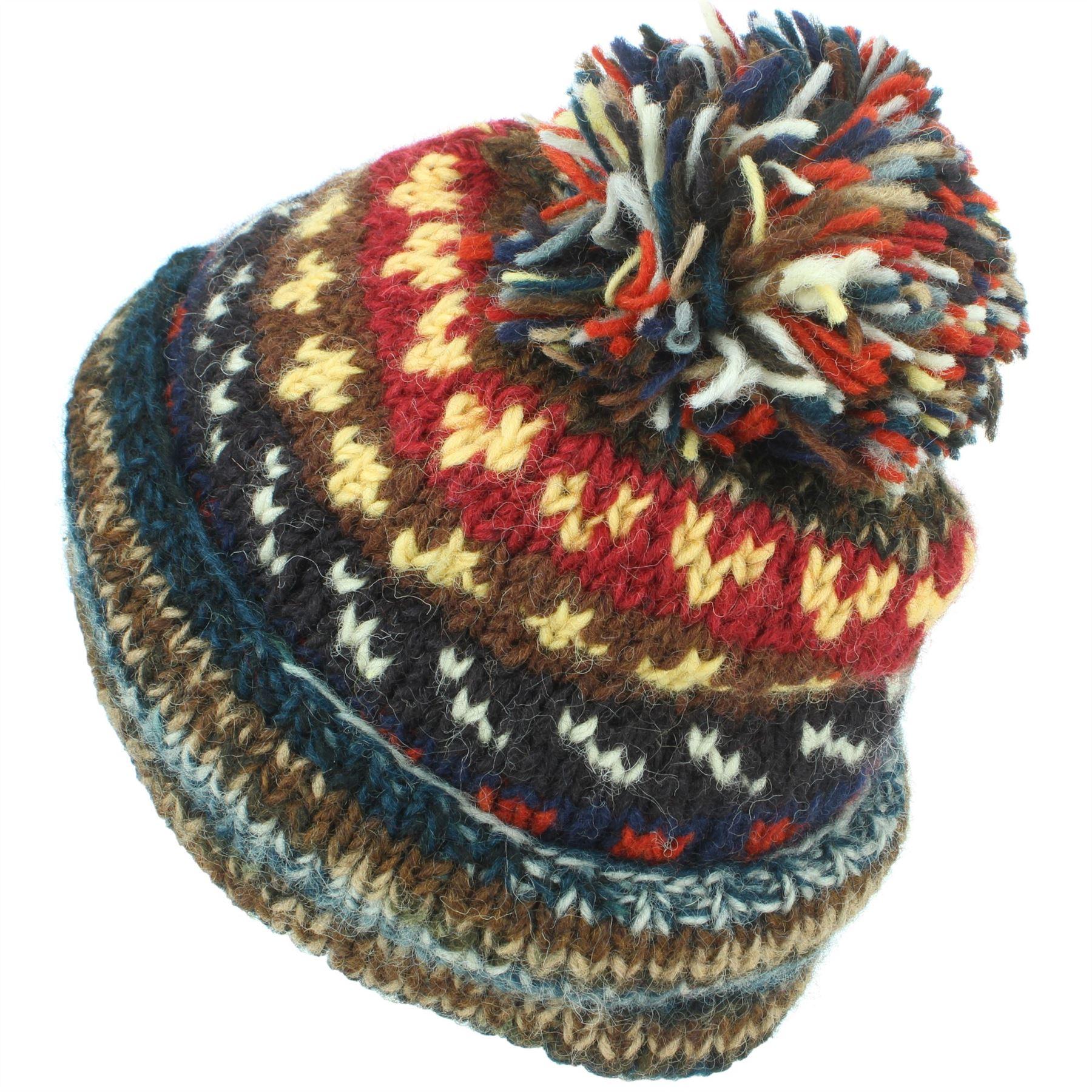 Chunky Wool Knit Beanie Bobble Hat Men Ladies Warm Winter ...