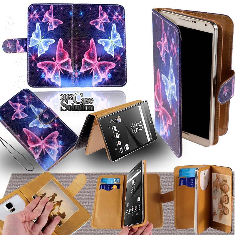 Pour-Divers-Sony-Xperia-Smartphones-Cuir-Pied-Flip-Etui-Housse-Portefeuille