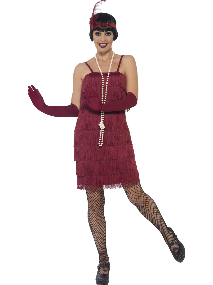 Burgundy Flapper Costume Ladies 1920s Fancy Dress Outfit