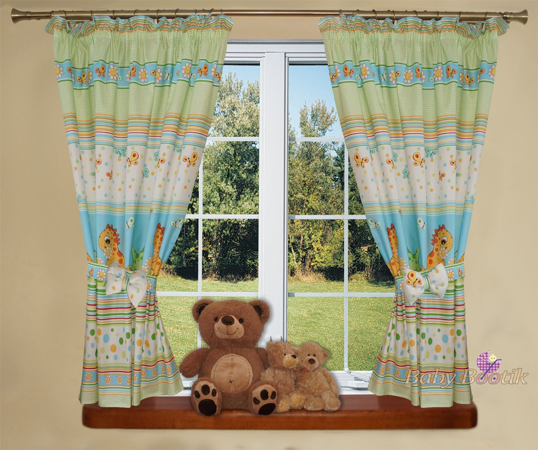 luxuri s baby zimmer fenster vorh nge in passend muster f r kinderzimmer bett ebay. Black Bedroom Furniture Sets. Home Design Ideas