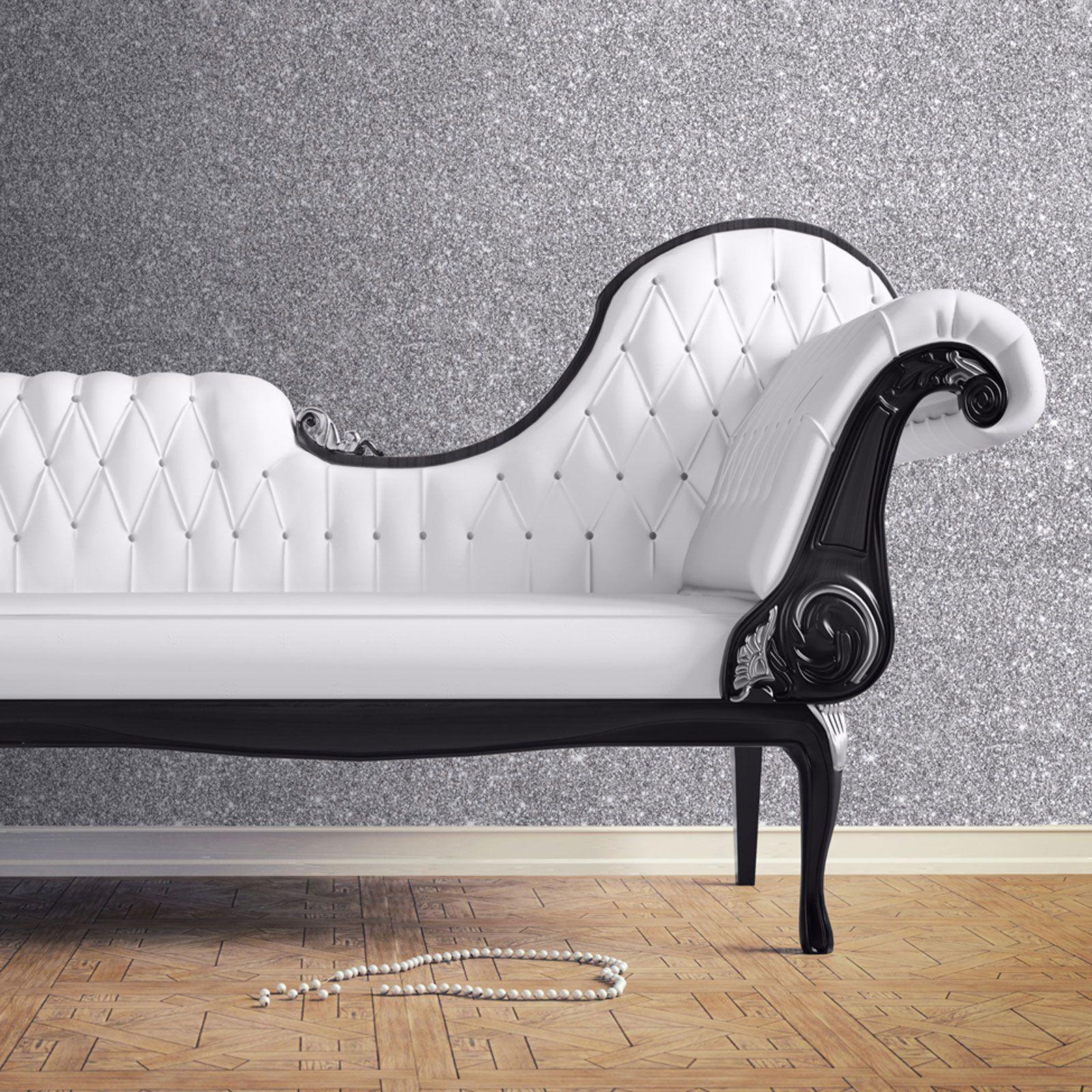 muriva silver wallpaper - sparkle glitter shimmer metallic brick