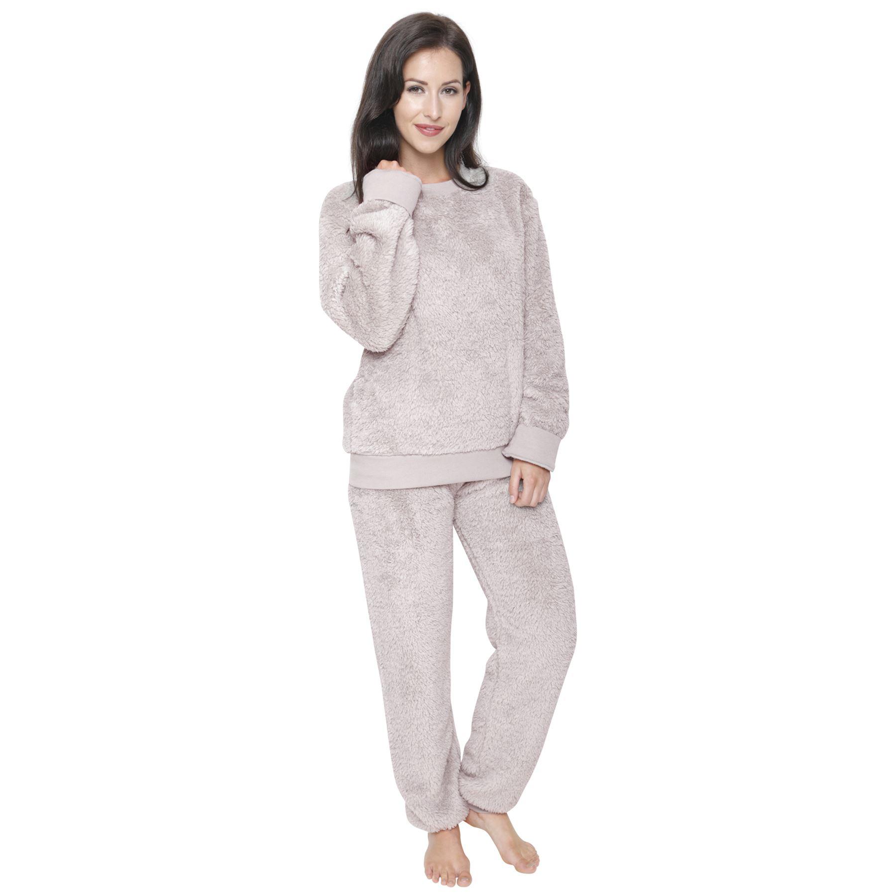 femmes blottir pyjama polaire chaud doux pyjama ensemble v tement de d tente ebay. Black Bedroom Furniture Sets. Home Design Ideas