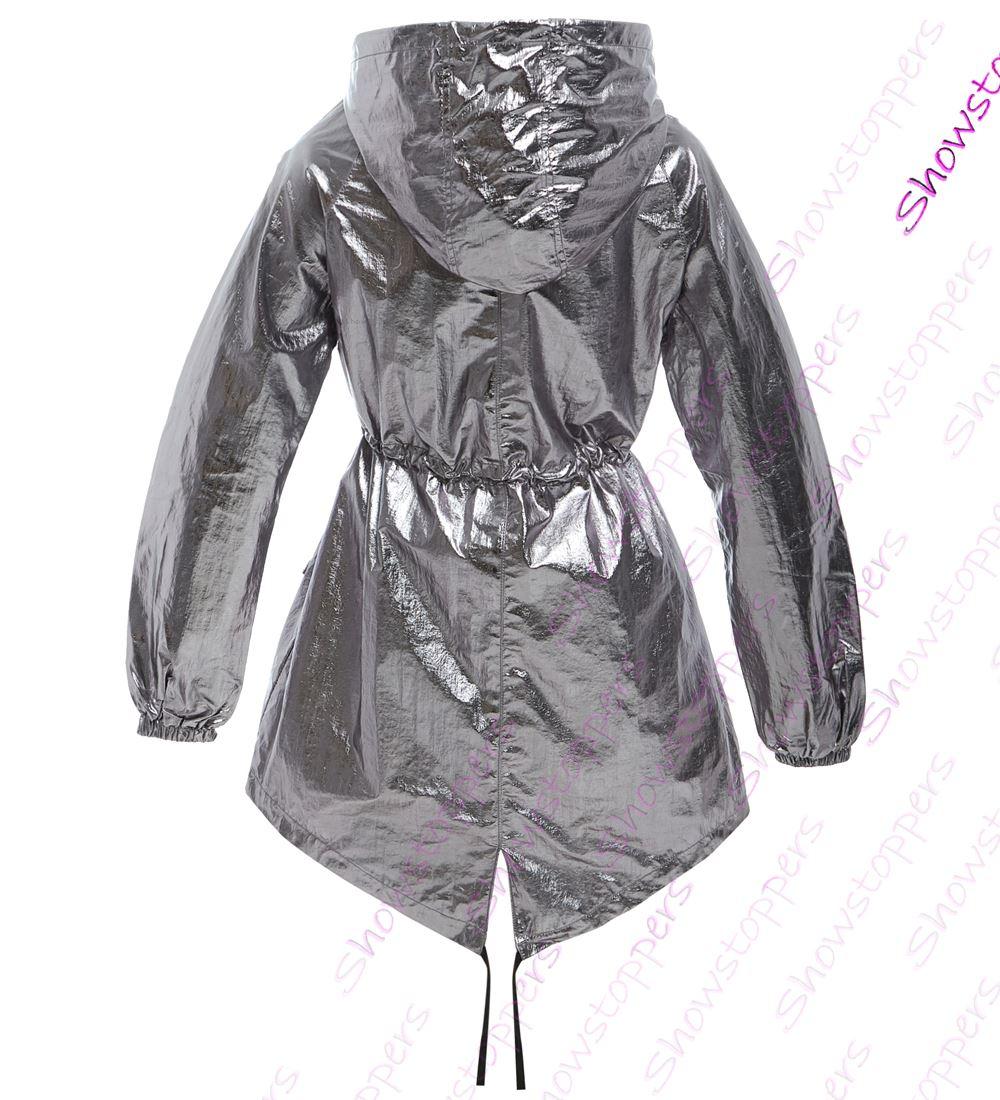 Rain imperméable couleur métallisé imperméable Blouson pour Mac 8 taille 16 pour à douche femmes femmes la argent txwz7q