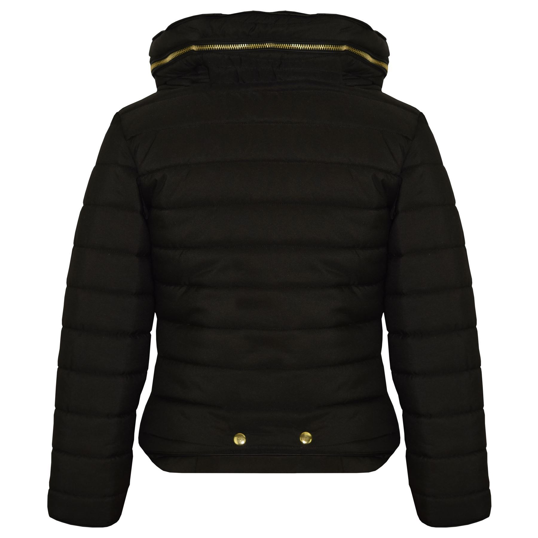 77f576074b66 Girls Jacket Kids Padded Black Puffer Bubble Fur Collar Back To ...