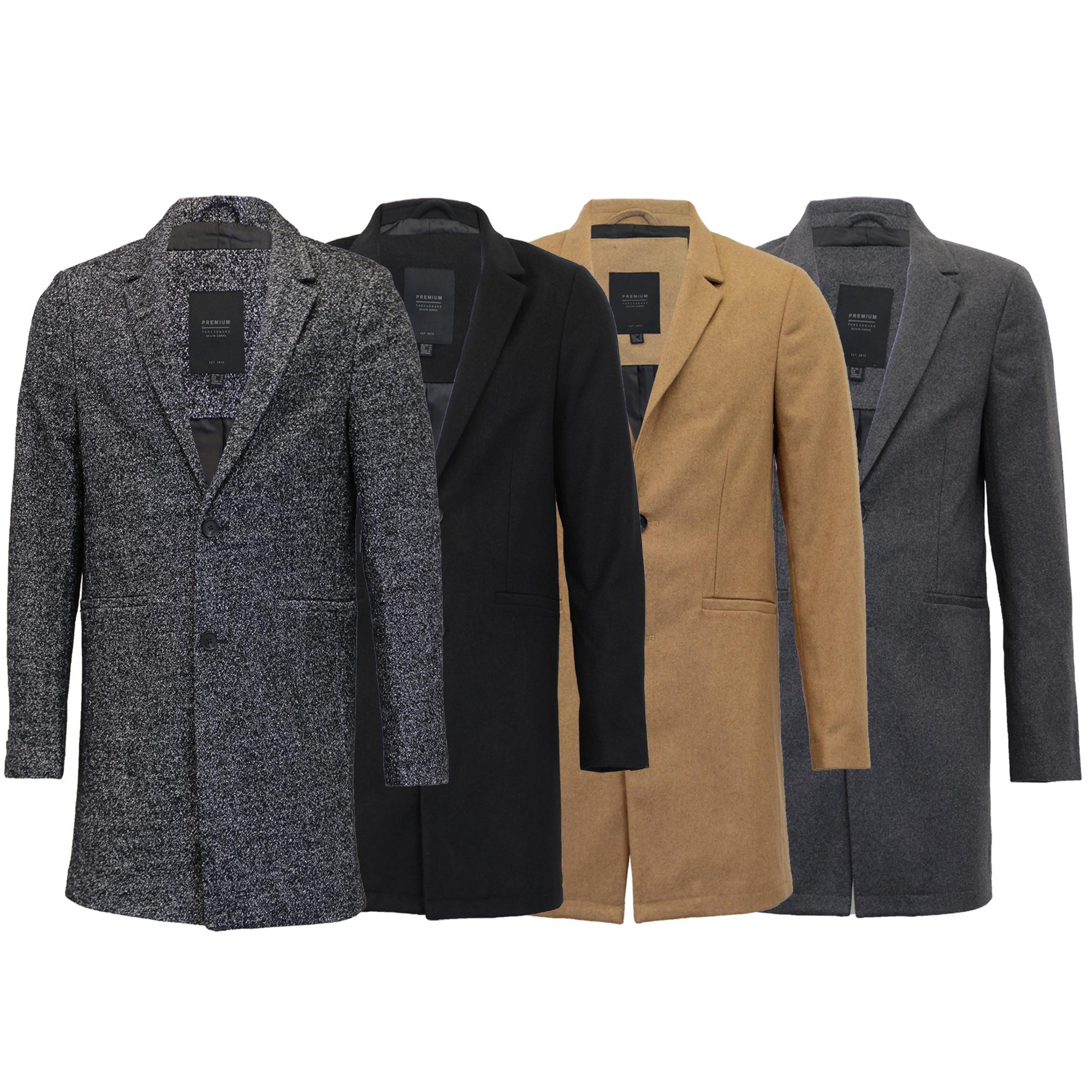 super popular 8bc0f d917d Details zu Herren Wolle Mix Jacke threadbare Lang Trenchcoat Kragen Knöpfe  Gefüttert Winter