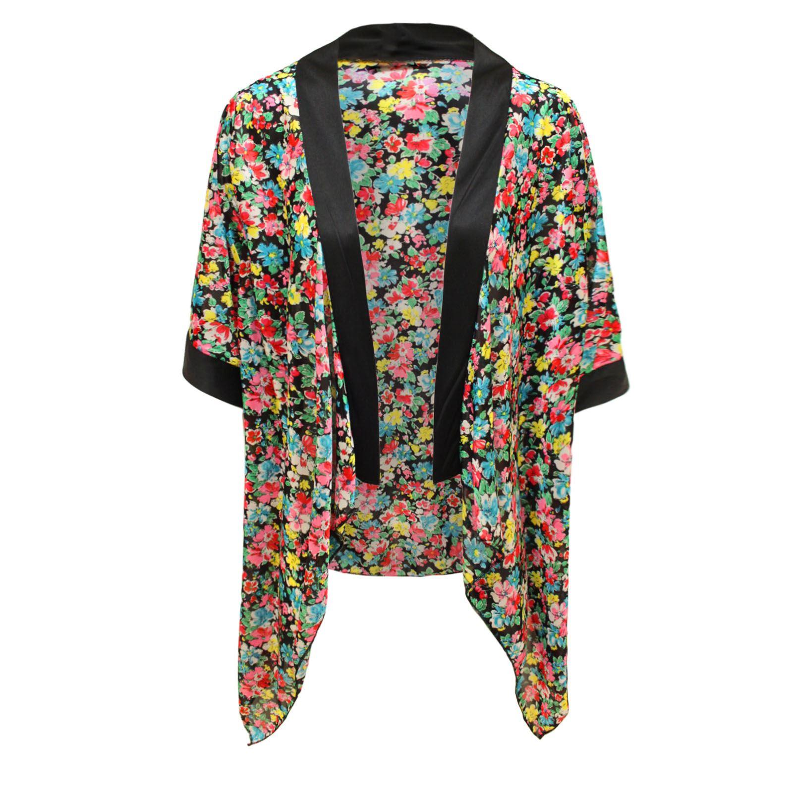 Damen vintage blumen druck top kimono umhang offene - Kimono jacke damen ...