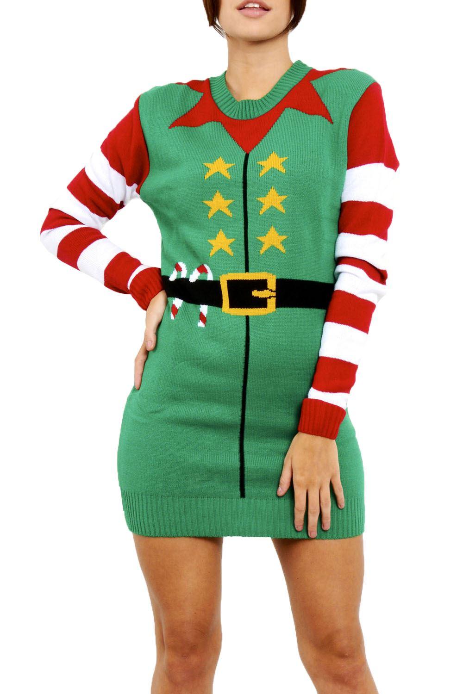Womens Ladies Christmas Santa Elf Costume Gingerbread