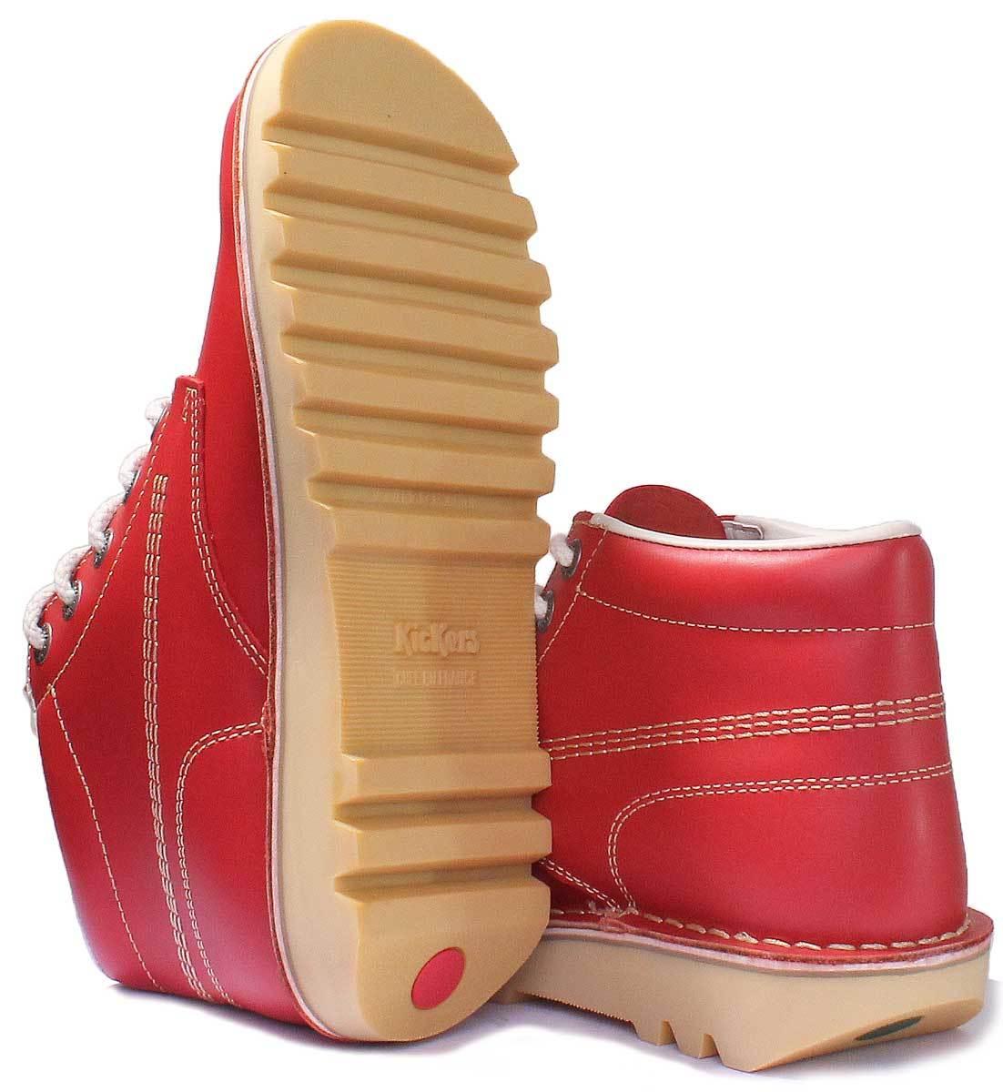 Dettagli su Kickers Kick Hi Core Uomo pelle Rosso Hi Stivali Misura UK 6 12
