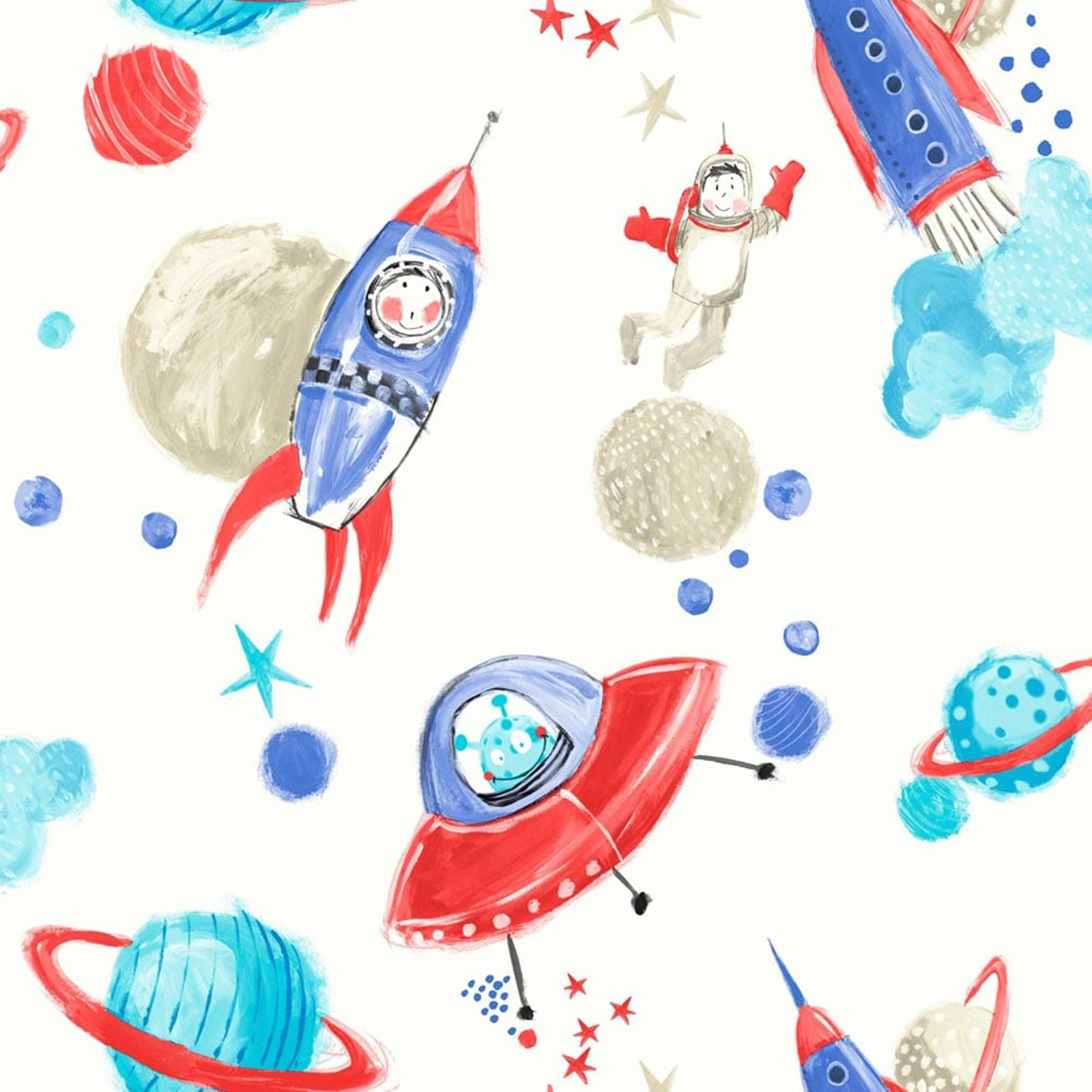 Arthouse Starship Star Pattern Space Man Rocket Glitter Childrens