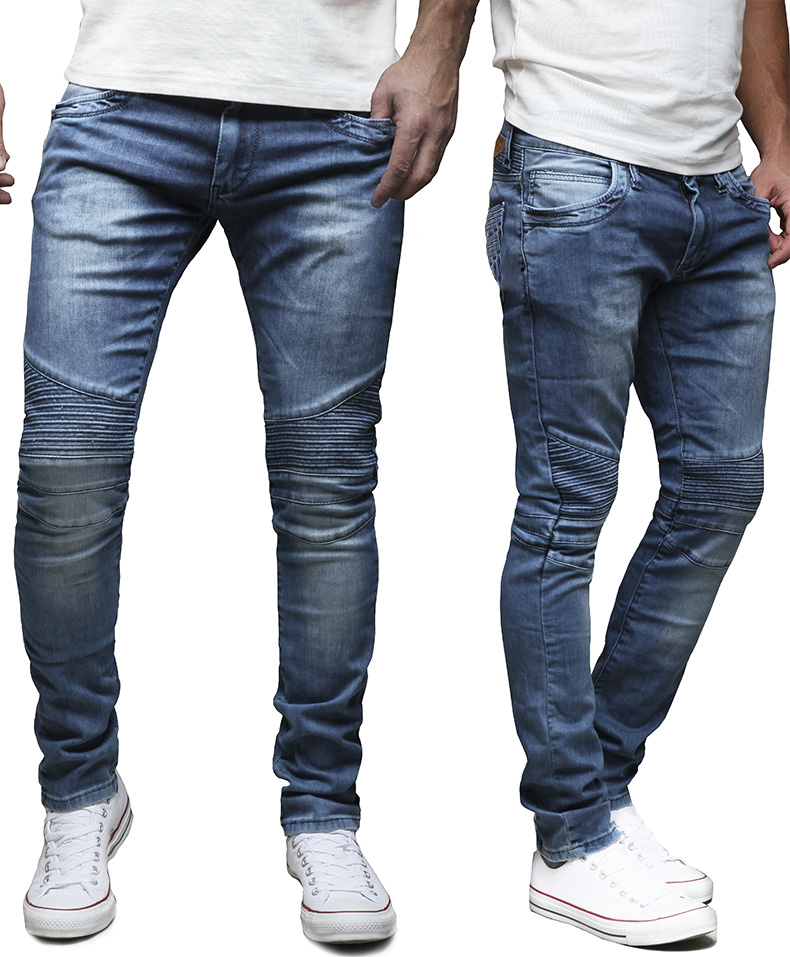 merish pantalon jeans pour homme slim fit chino biker. Black Bedroom Furniture Sets. Home Design Ideas