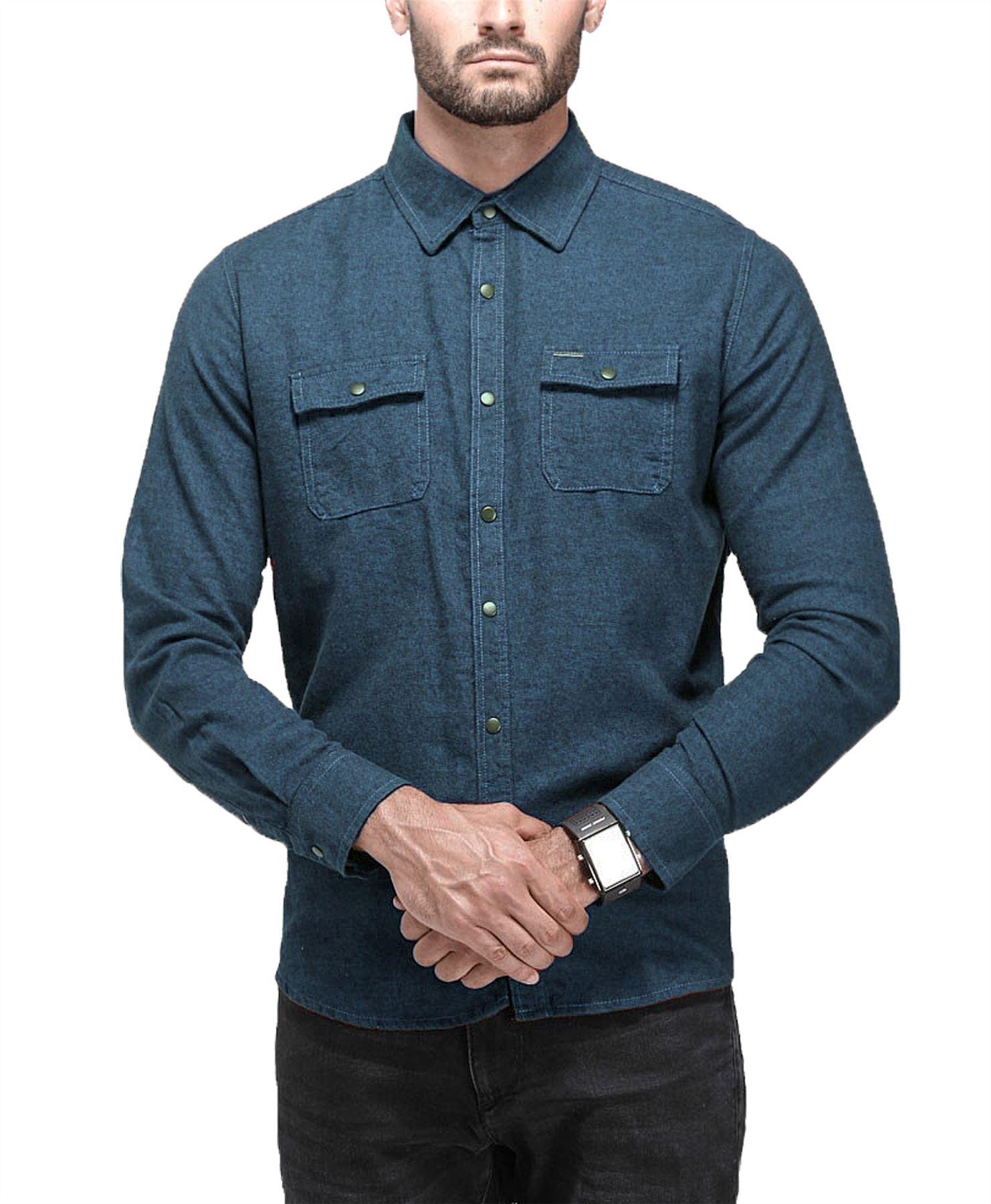 Hombre-Point-Zero-Camisa-Lisa-100-Manga-Larga-De-Algodon-Informal-Elegante