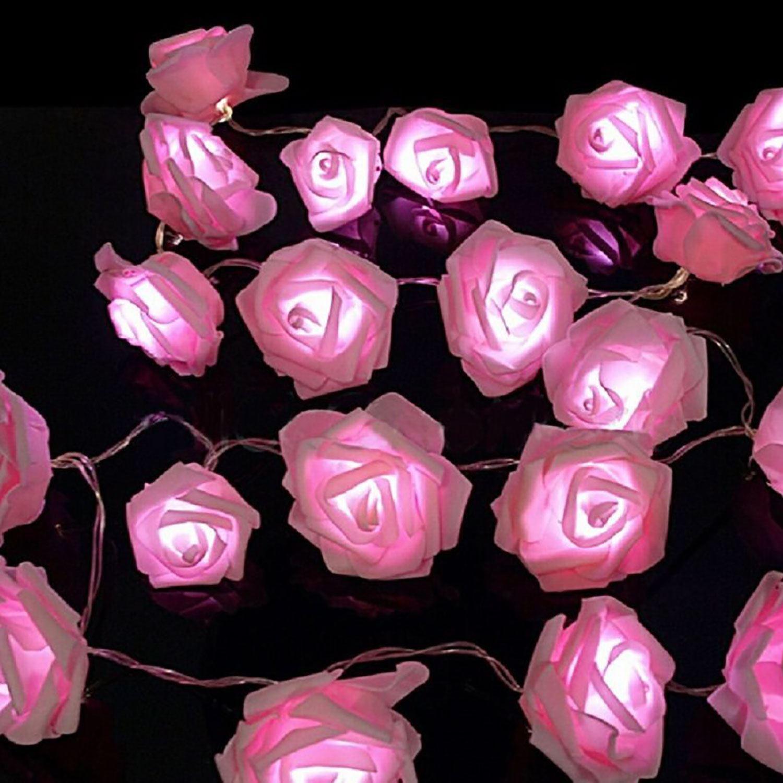 pink wei led s rose blume lichterketten wohnzimmer. Black Bedroom Furniture Sets. Home Design Ideas