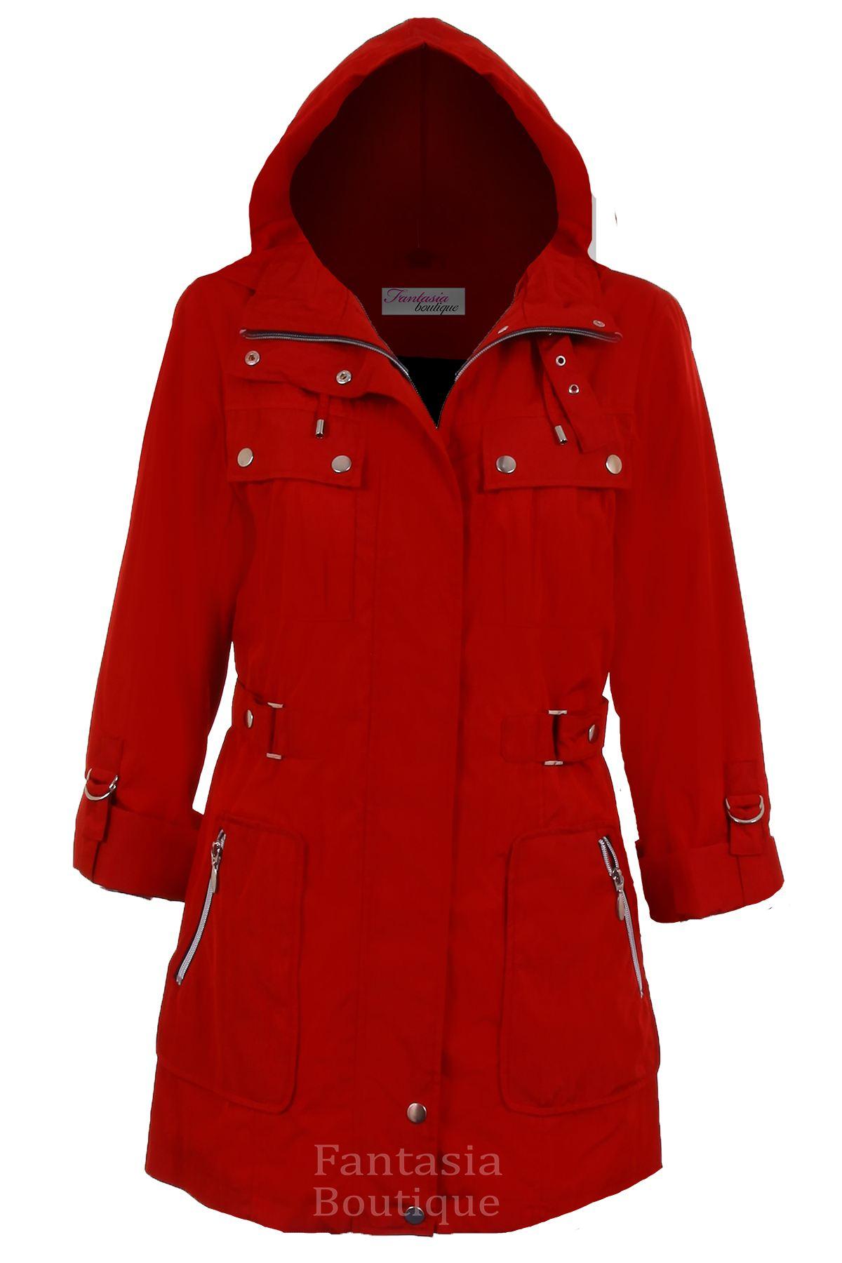 Ladies Turn Up Long Sleeve Detachable Hood Shower Proof Women/'s Coat Jacket