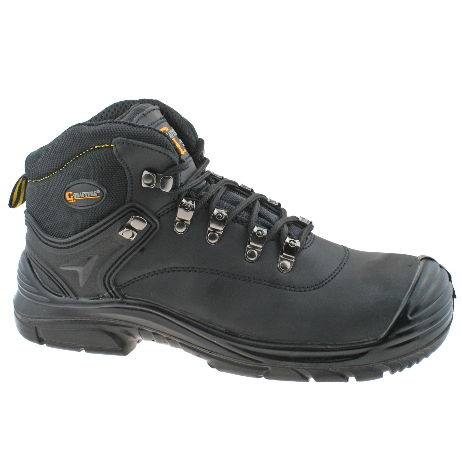 Grafters-Hombre-Cuero-Negro-Impermeable-Corte-Ancho-Cordones-Botas-Seguridad