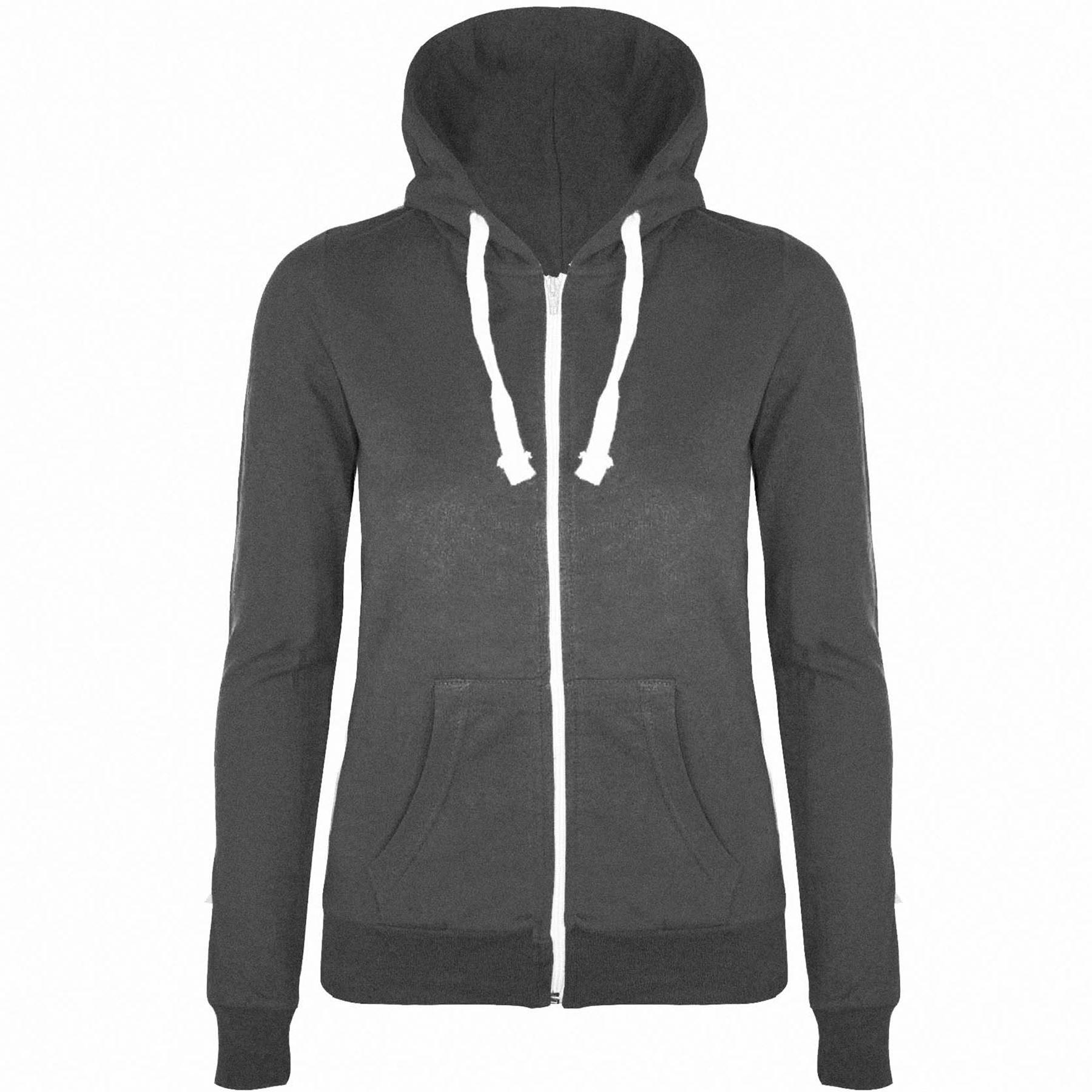 Womens Plain Hoodie Zip Up Ladies Hooded Jacket Sweatshirt ...