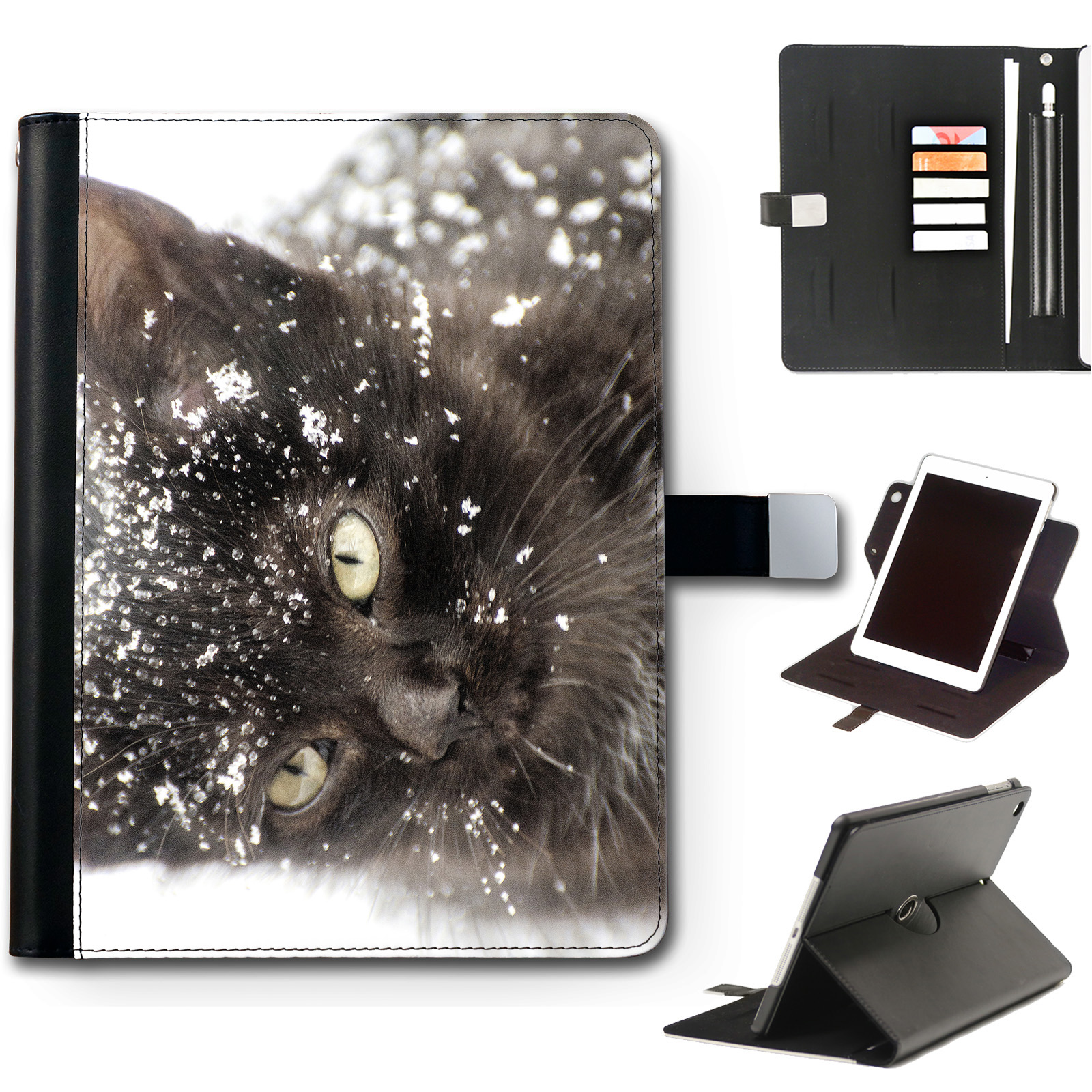 Cane-pelle-Caso-Ipad-360-Girevole-Cover-per-Apple-Ipad-con-Animali-Gatto-ECC
