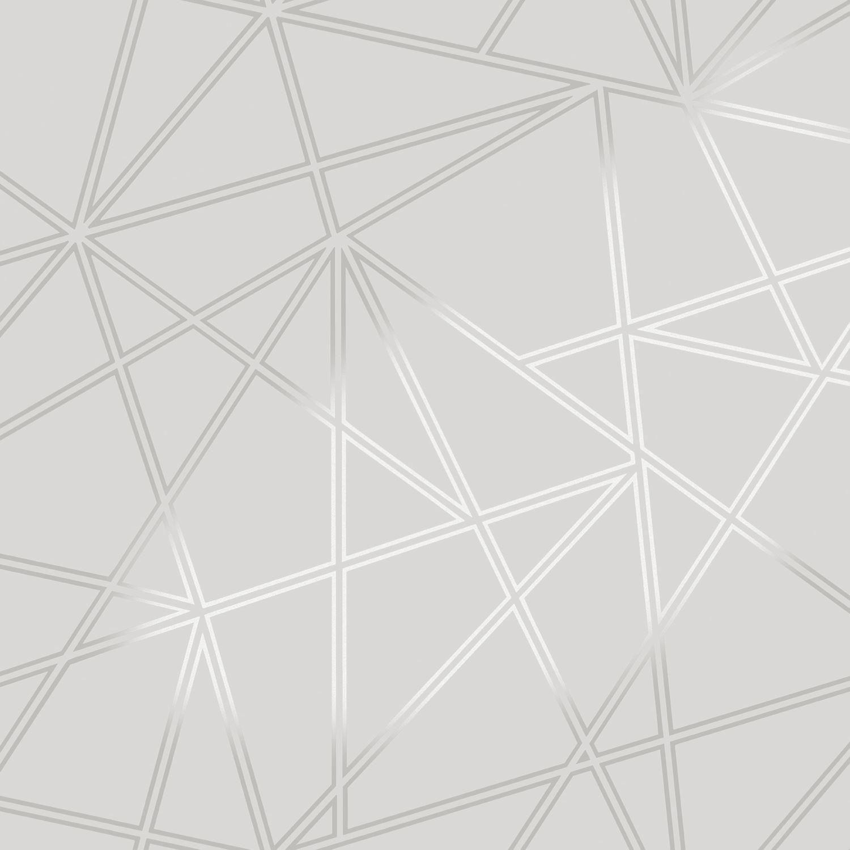 Silver Trellis Wallpaper: GEOMETRIC WALLPAPER MODERN DECOR TRIANGLES TRELLIS SILVER
