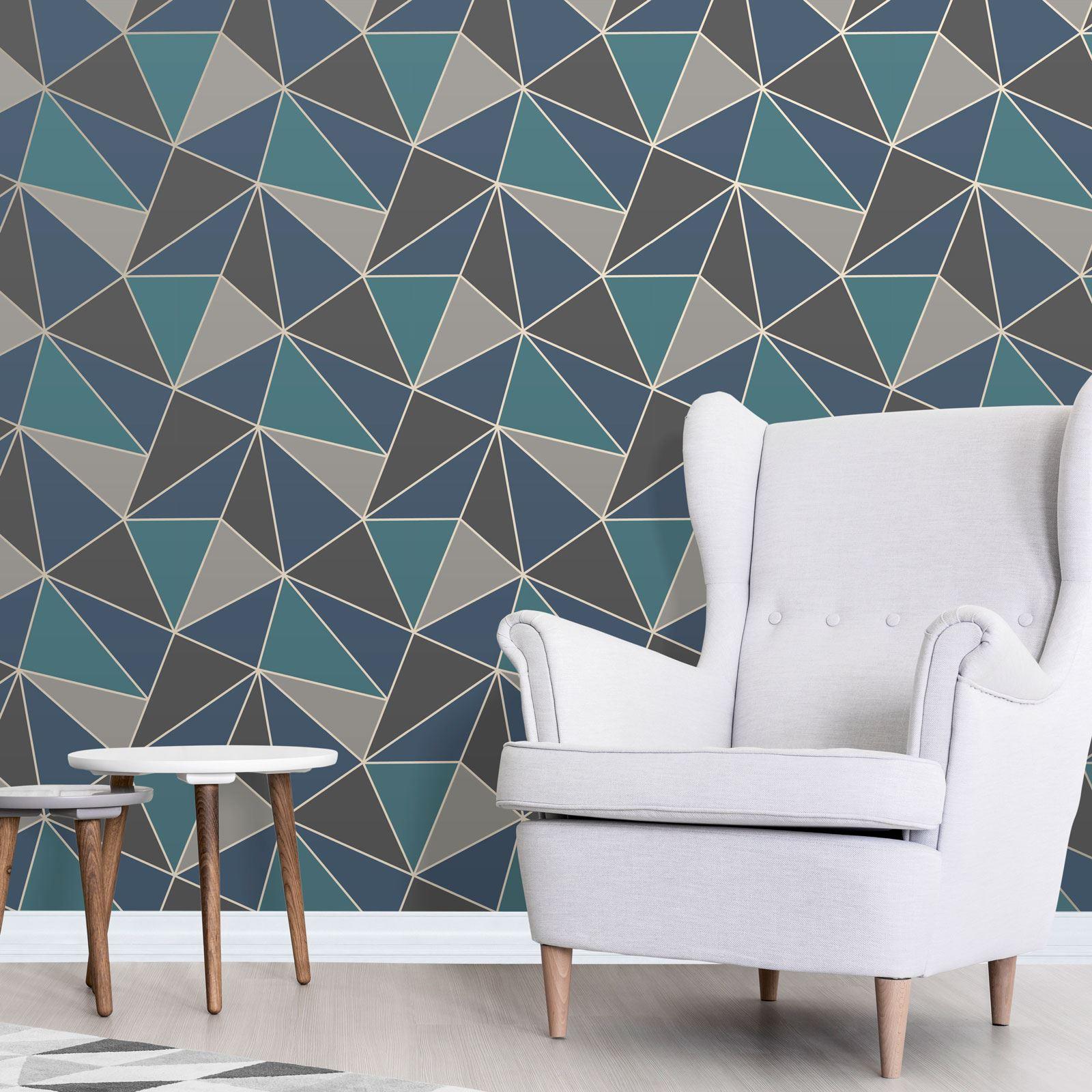 Trellis Wallpaper Metallic: GEOMETRIC WALLPAPER MODERN DECOR TRIANGLES TRELLIS SILVER