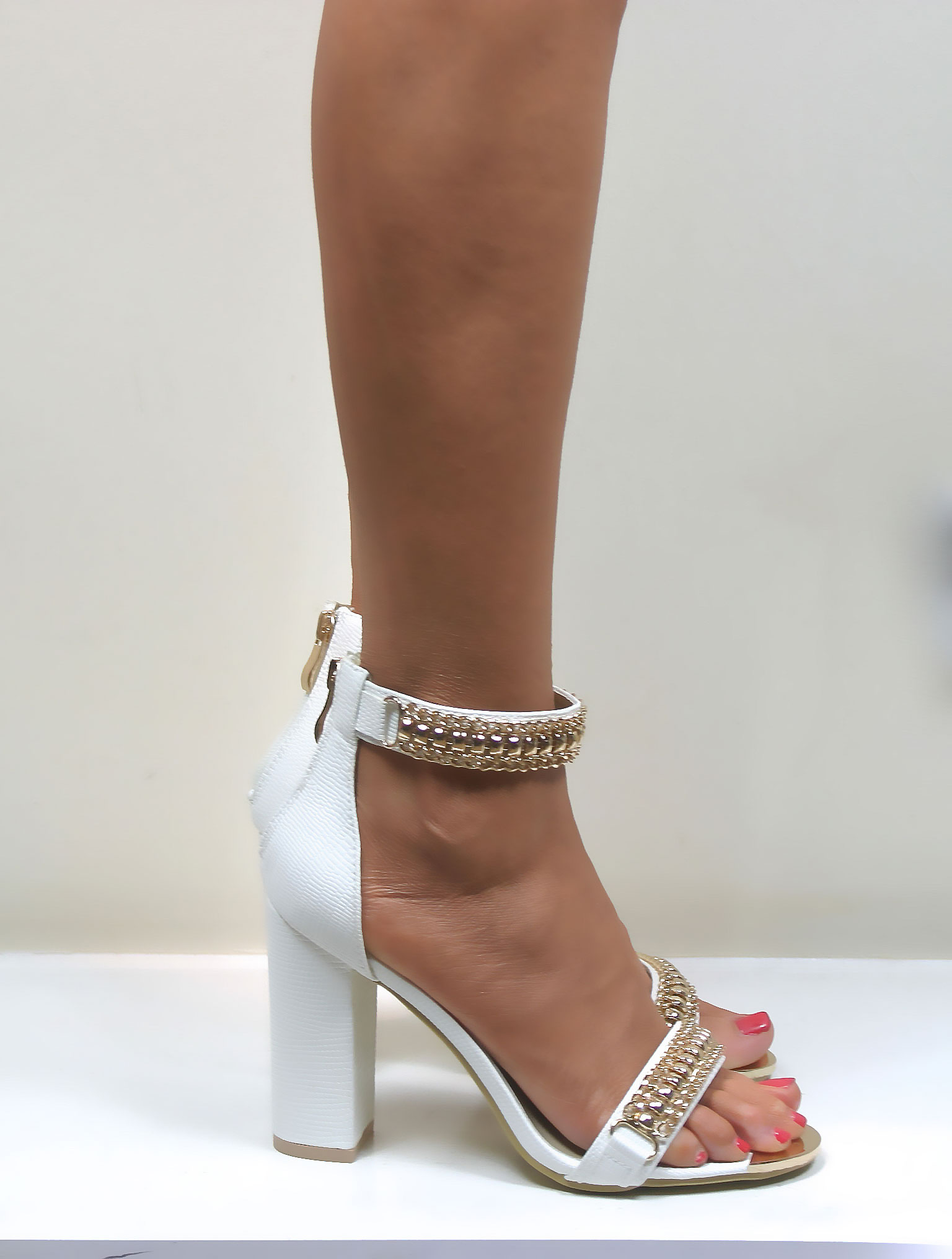 White And Gold Strappy Heels