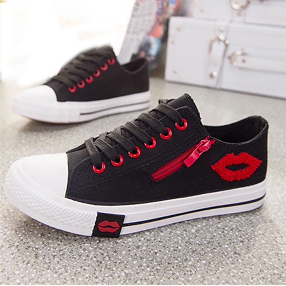 Mujer-Zapatillas-De-Lona-Casual-Con-Cordones-calzado-tenis-Zapatos-Planos