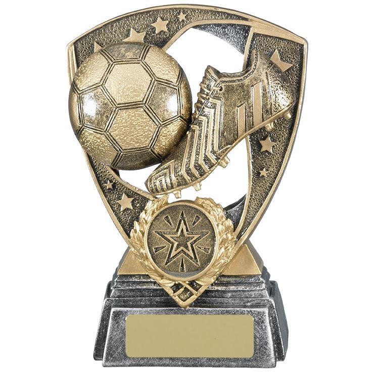 Ball-und-Stiefel-Fussball-Trophaee-gratis-Gravur-Gold-Fussball-Auszeichnungen