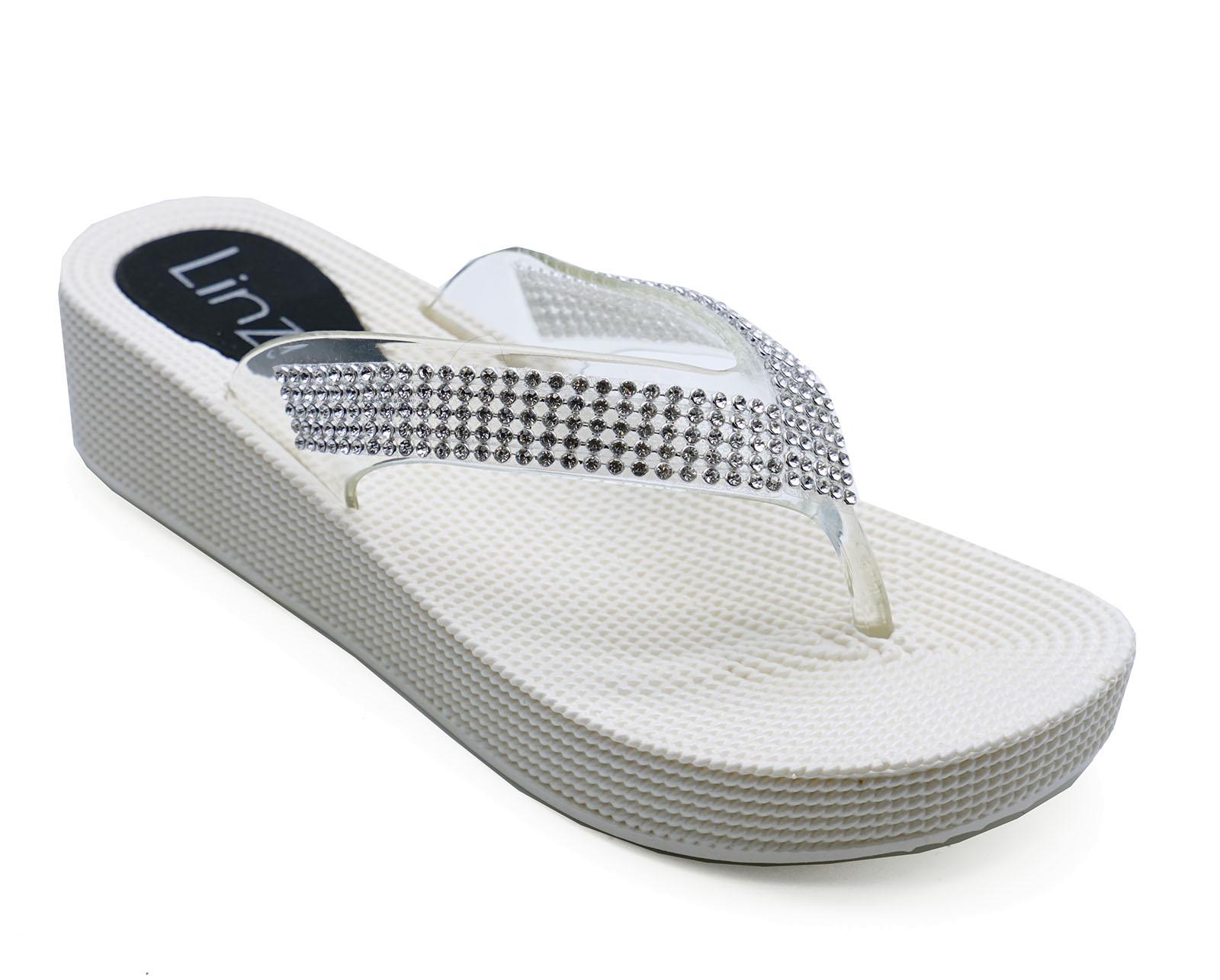 Mujer Blanco Con Tira Cuñas de Sandalias Chanclas Vacaciones Zapatos Sin Talón