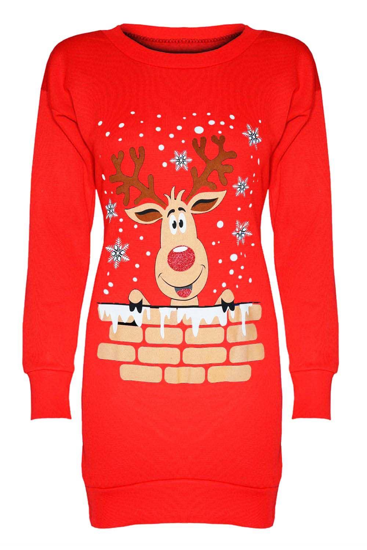 damen elfen rentier santa weihnachten lang sweatshirt. Black Bedroom Furniture Sets. Home Design Ideas