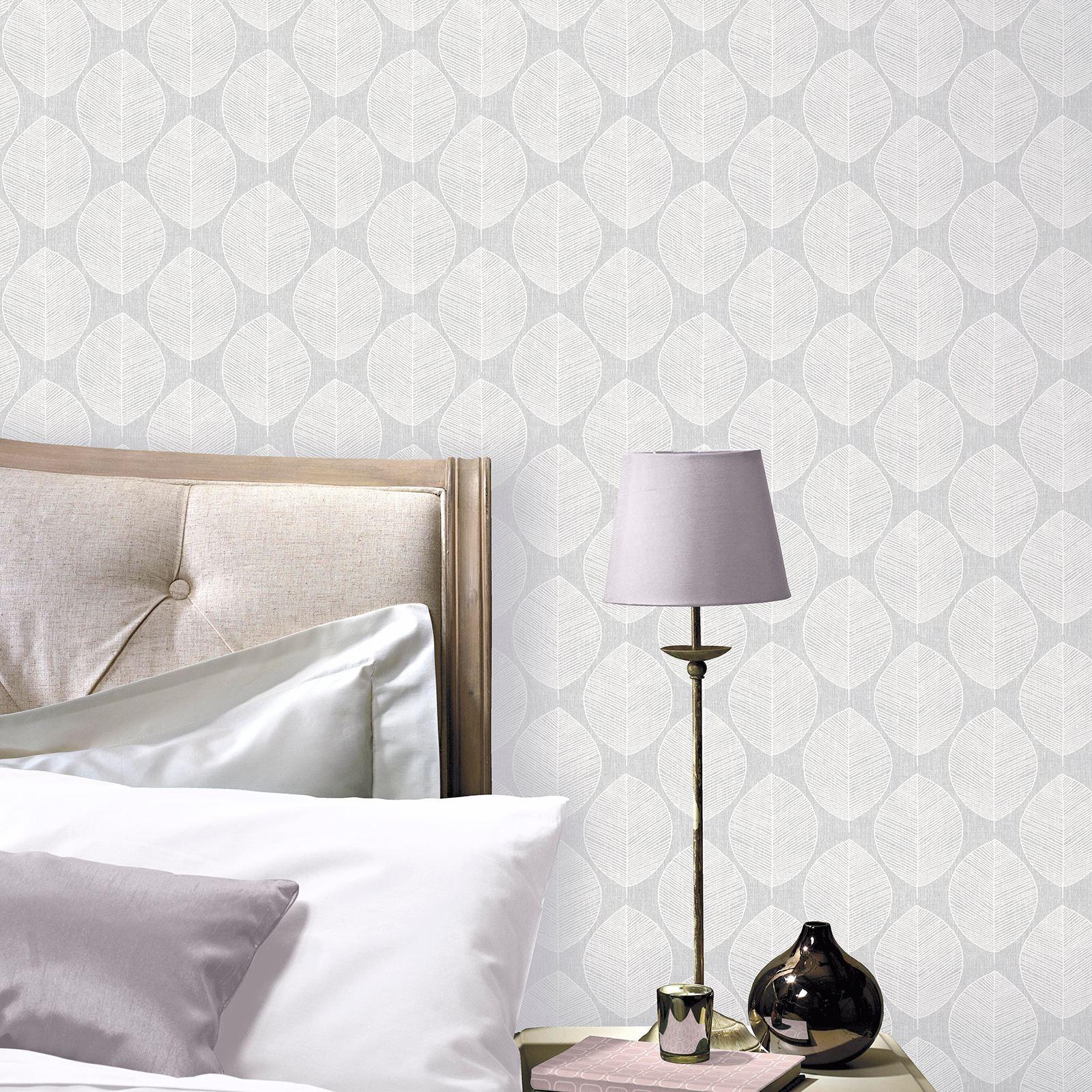 Indexbild 3 - Arthouse Scandi Blatt Tapete - Grau Rosa Blaugrün Schlafzimmer Flur Lounge