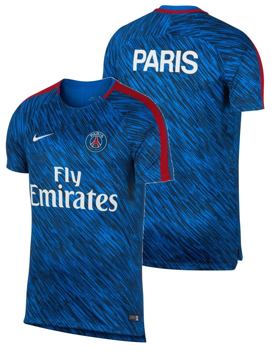 PSG-Nike-Camiseta-Entrenamiento-Training-Shirt-Blau-18-pre-match-seco-Superior