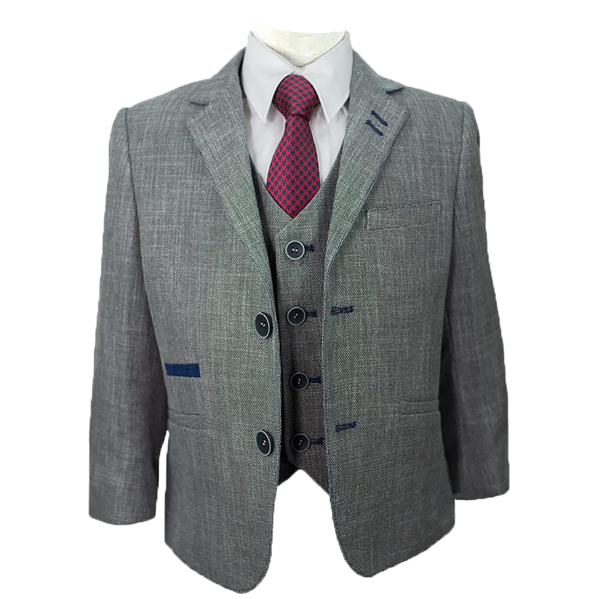 Ninos-Mezcla-De-Lana-Trajes-Creon-previs-3-Piezas-Tweed-CAVANI-chaqueta-chaleco