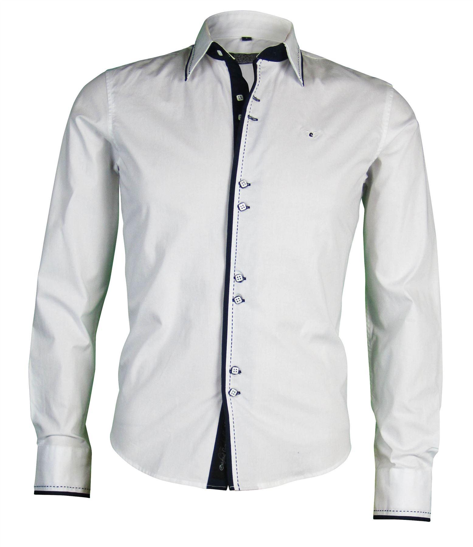 Mens carisma fashion block cuffs collar slim fit for Dress shirt collar fit