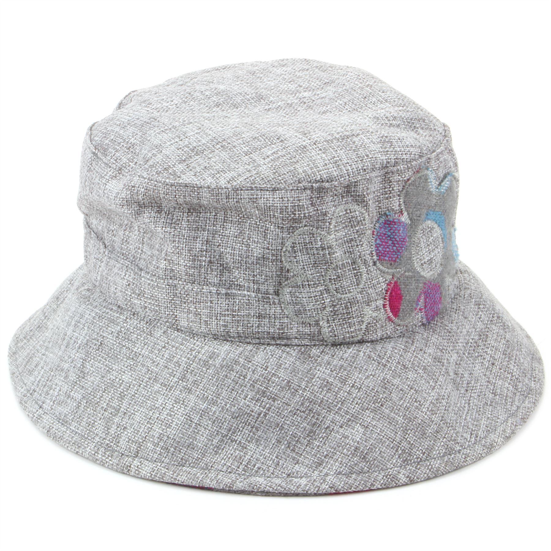 Ladies GREY Bucket Hat Hawkins Cap Flower Sun Womens ...